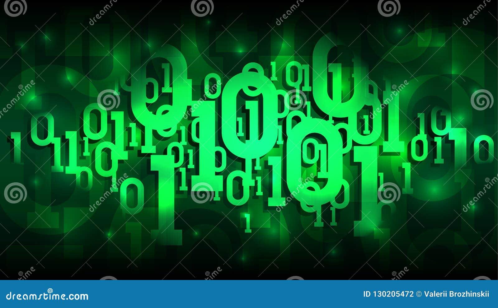Предпосылка матрицы зеленая с бинарным кодом, затеняет цифровой код в абстрактном футуристическом виртуальном пространстве, облак