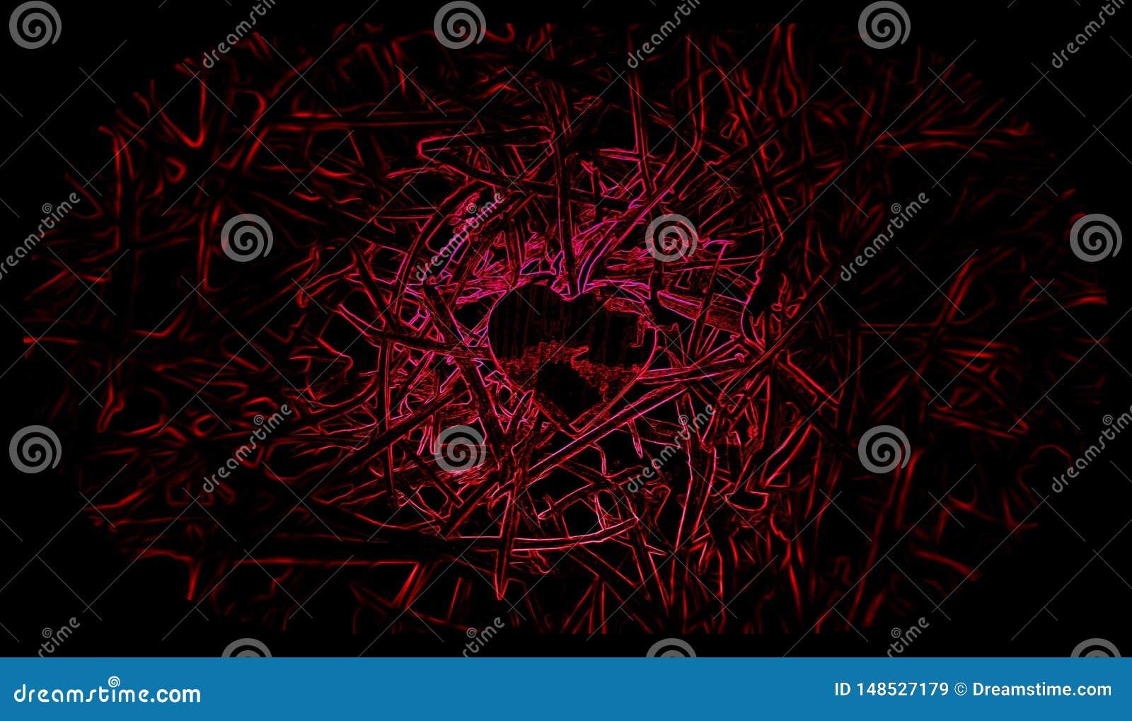 Предпосылка меньшего сердца черная и красная Иллюстрации