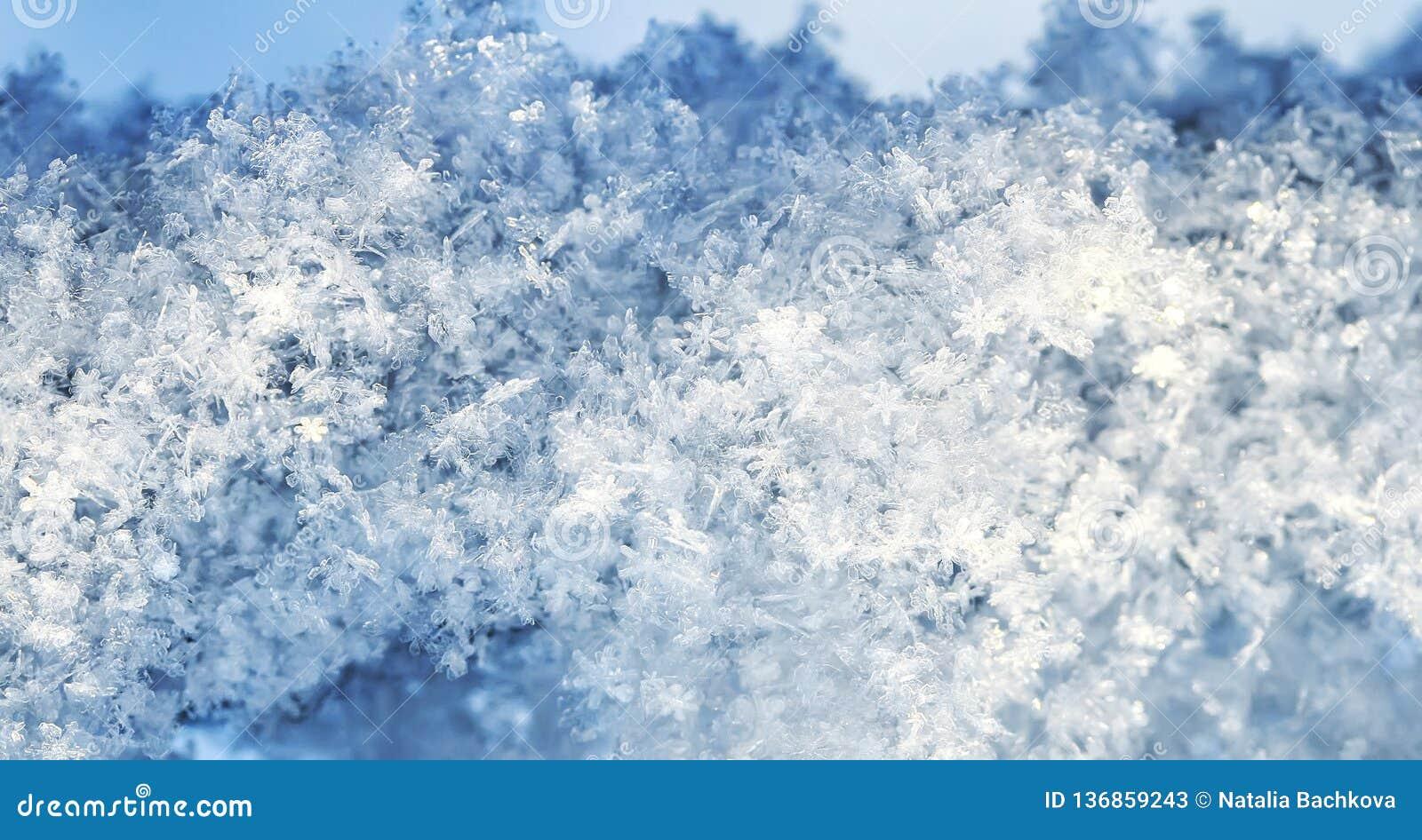 предпосылка много снежинок различных форм и shimmer текстуры в солнце на ясный зимний день
