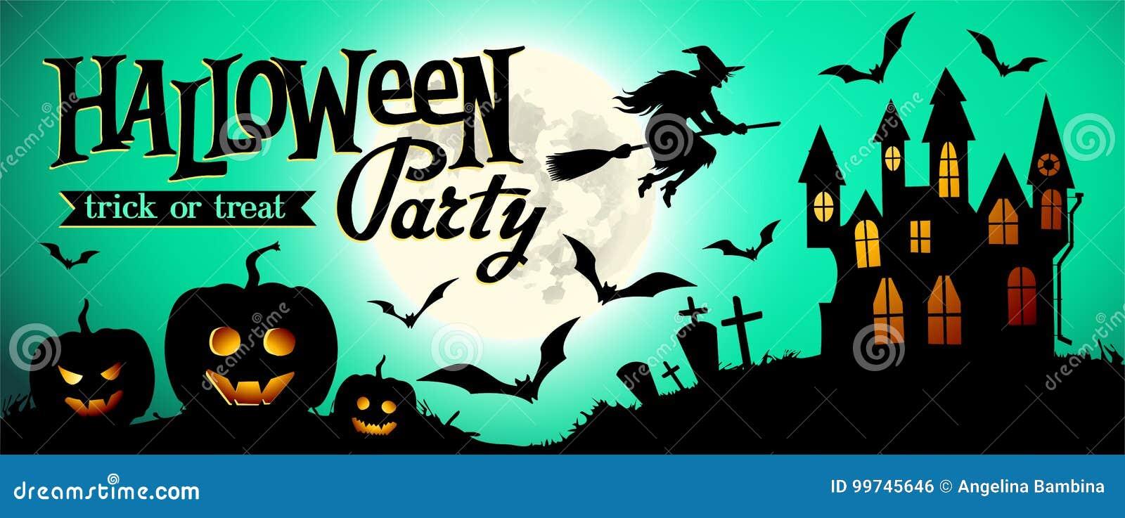 Предпосылка ночи хеллоуина с тыквой, домом и полнолунием Шаблон знамени или приглашения для партии хеллоуина