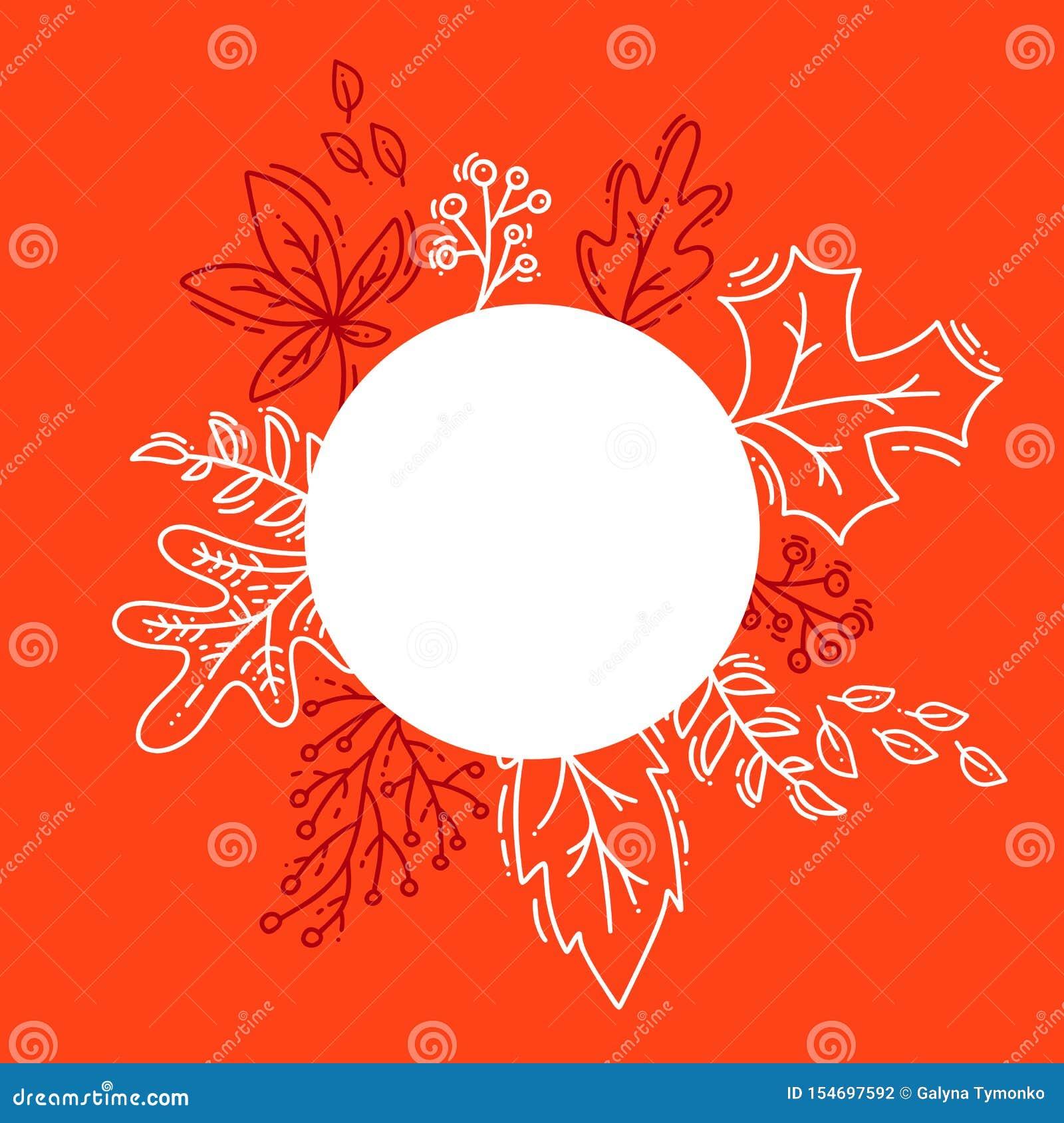 Предпосылка осени иллюстрации вектора, листья дерева, оранжевый фон, дизайн для знамени сезона падения, плакат или день благодаре