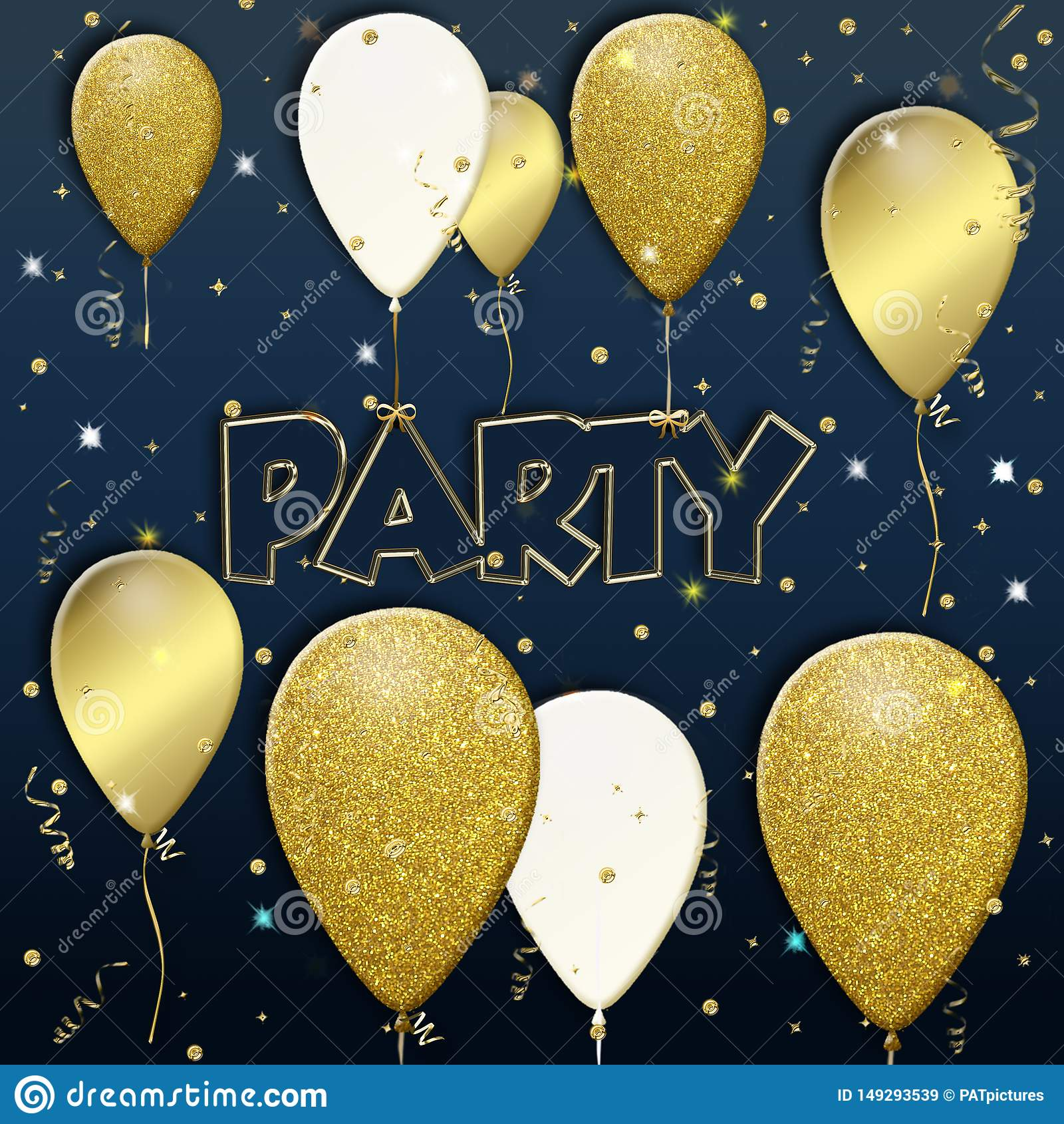 Предпосылка партии с воздушными шарами летания золотыми