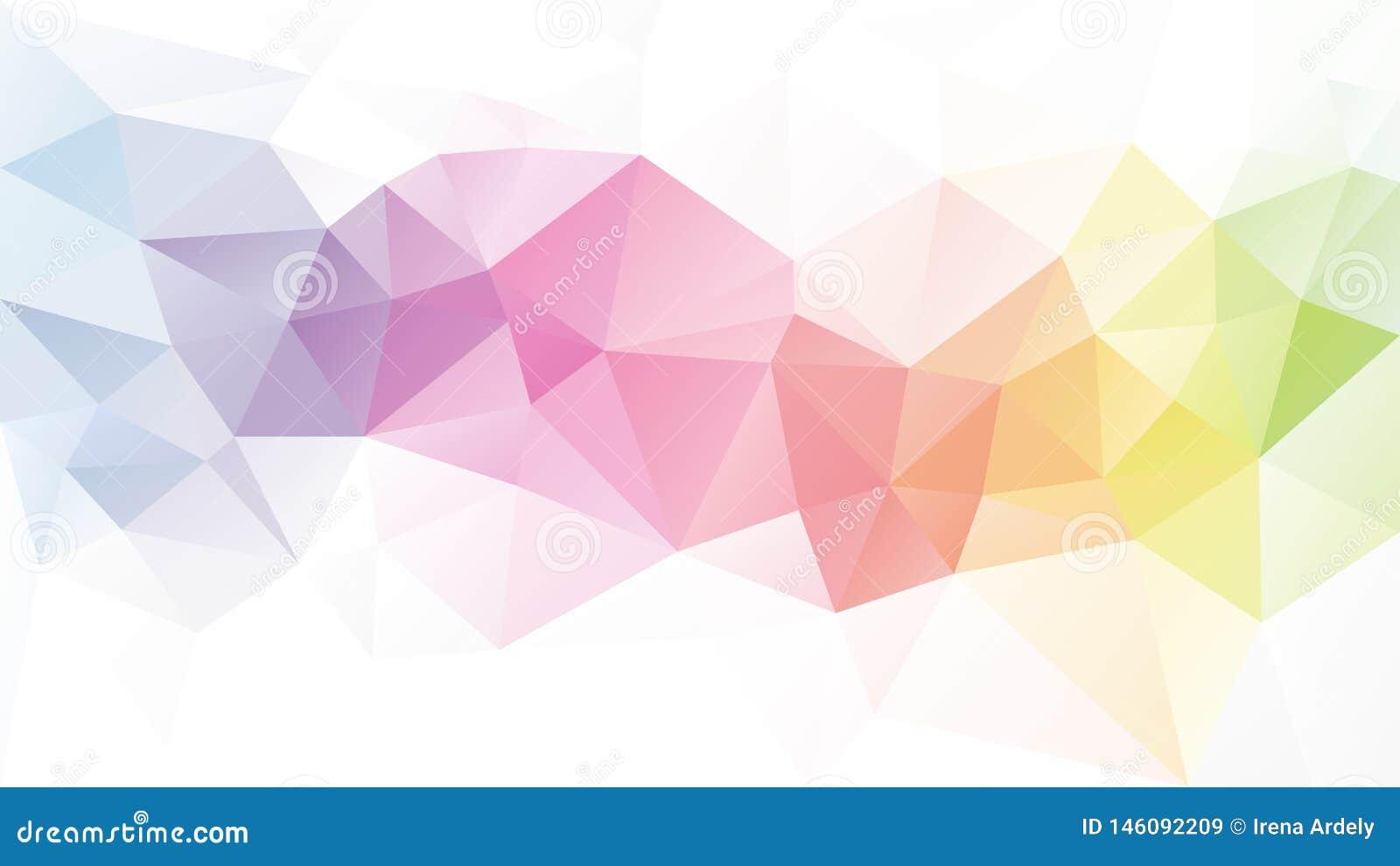 Предпосылка полигона вектора незаконная - картина треугольника низкая поли - прокладка радуги цвета светлого пастельного полного