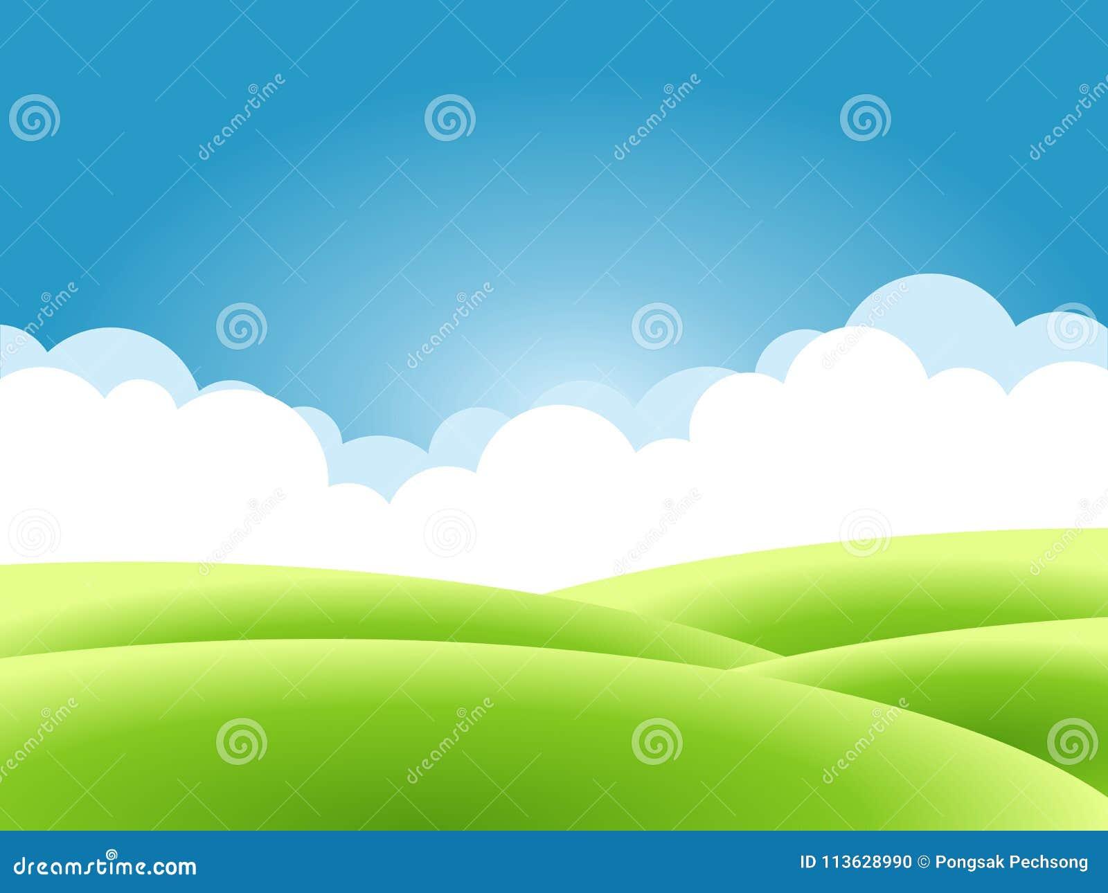 Предпосылка природы лета, ландшафт с зелеными холмами и лугами, голубое небо и облака