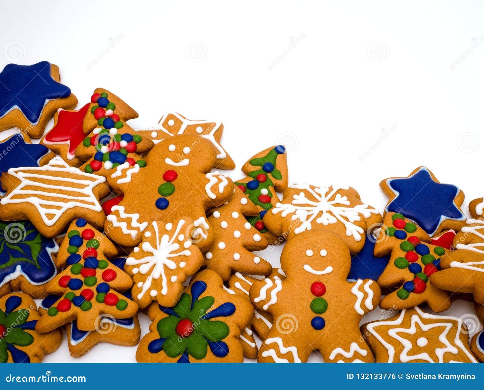 Предпосылка пряника С Новым Годом! и веселое рождества белая ароматичные специи gingerbread печений рождества выпечки Делать пече