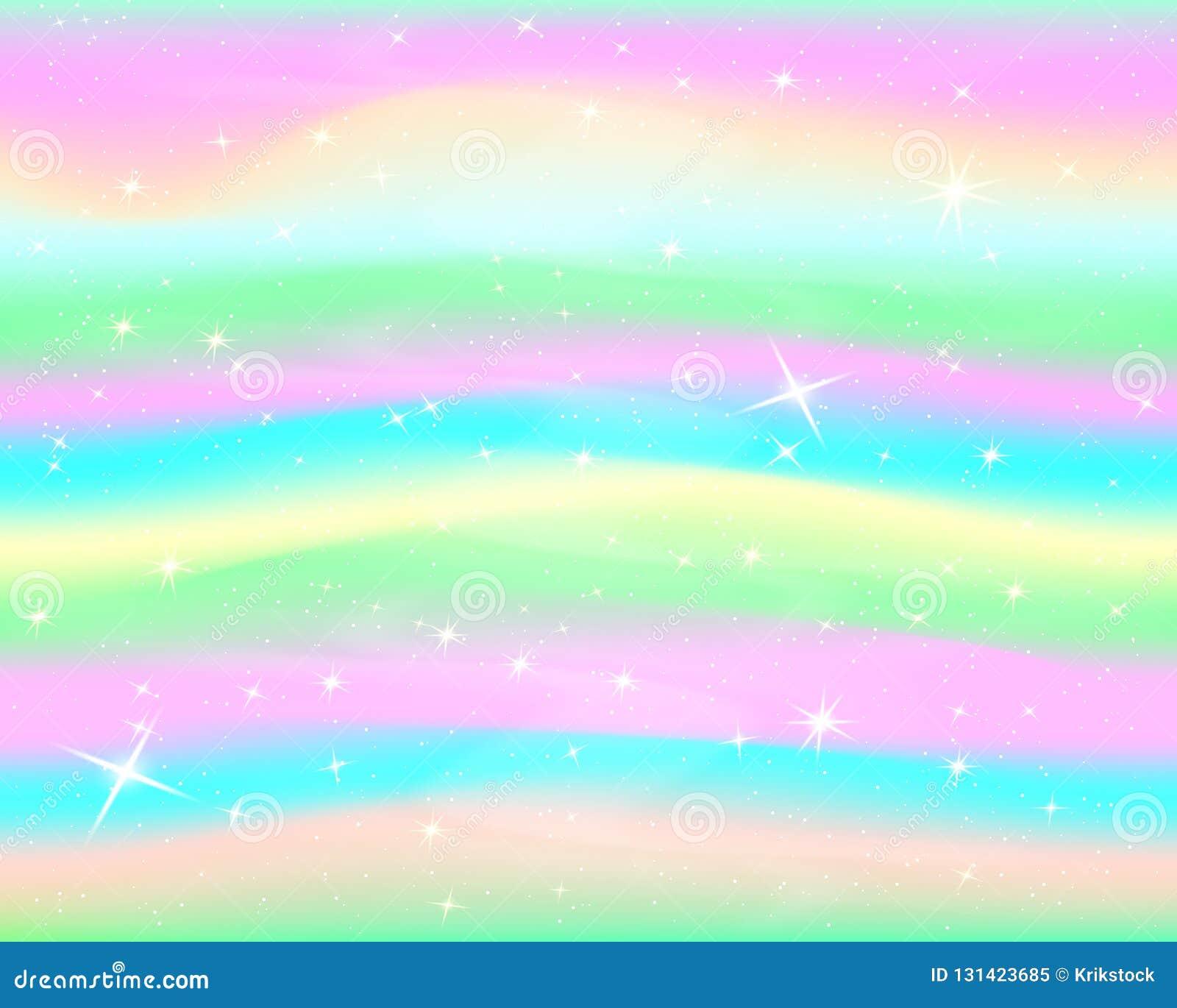 Предпосылка радуги яркого блеска Небо в пастельном цвете Яркая картина русалки вектор