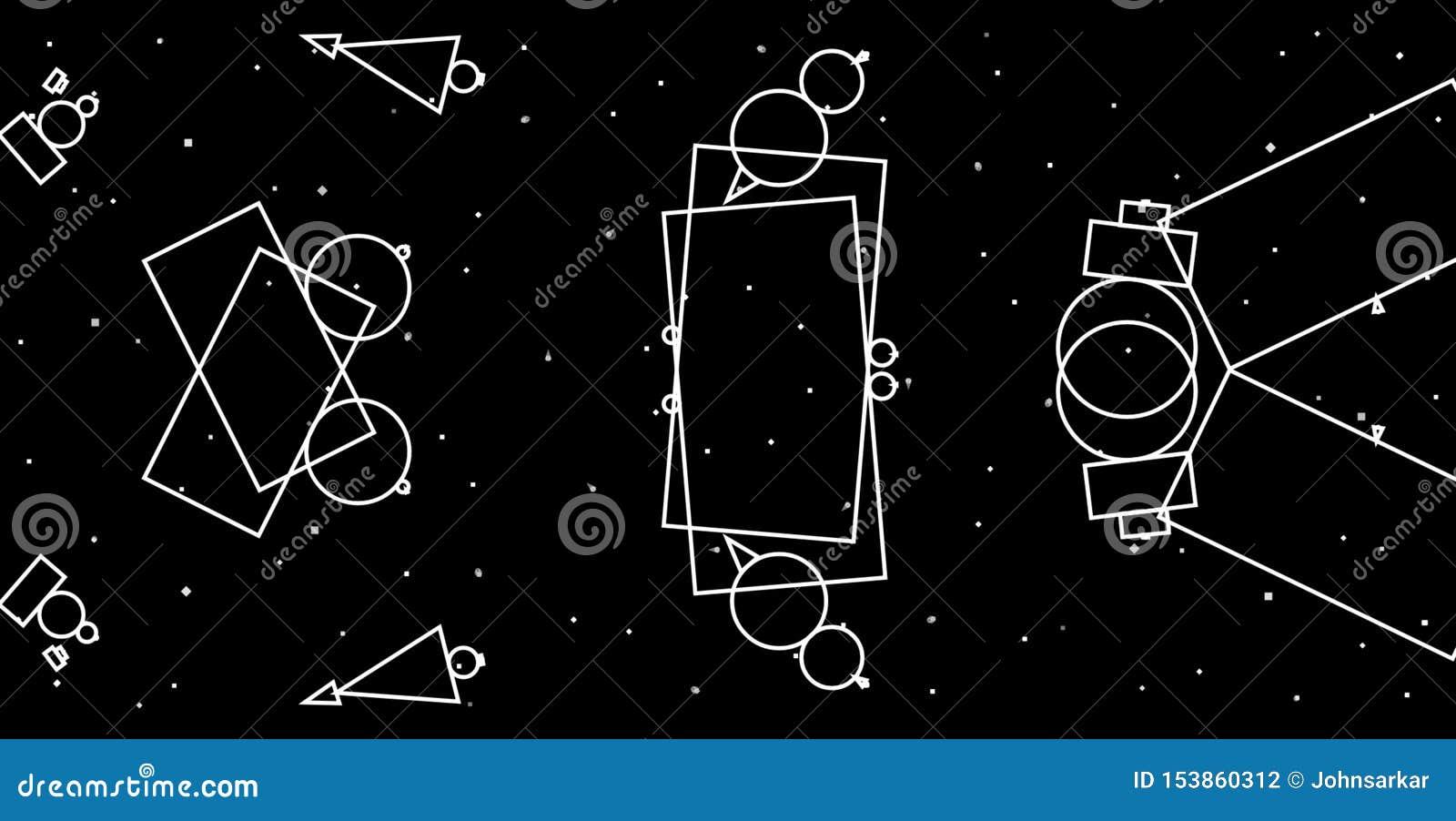 Предпосылка серой шкалы конспекта геометрическая Дизайн геометрических форм творческий с черной предпосылкой