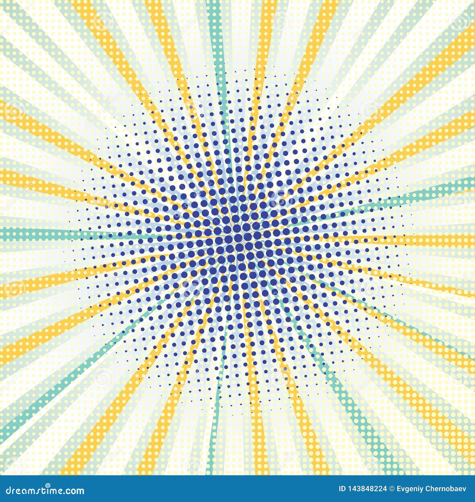 Предпосылка страницы комика с желтыми лучами, голубыми точками Предпосылка конспекта ретро шуточная с точками Предпосылка бирюзы