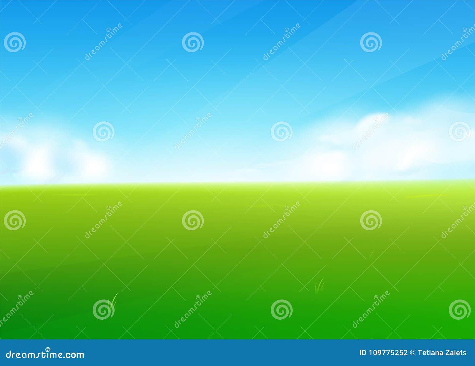 Предпосылка с ландшафтом зеленой травы, облака природы поля весны, небо
