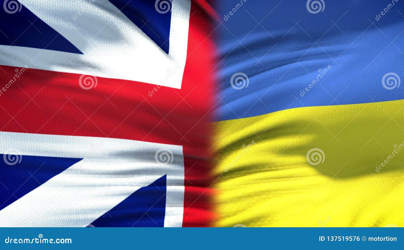 Предпосылка флагов Великобритании и Украины, дипломатический и экономические отношения