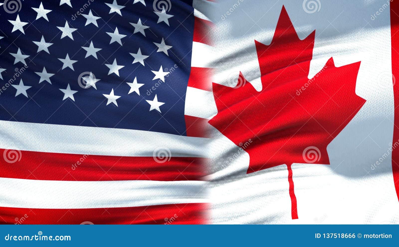 Предпосылка флагов Соединенных Штатов и Канады, дипломатический и экономические отношения