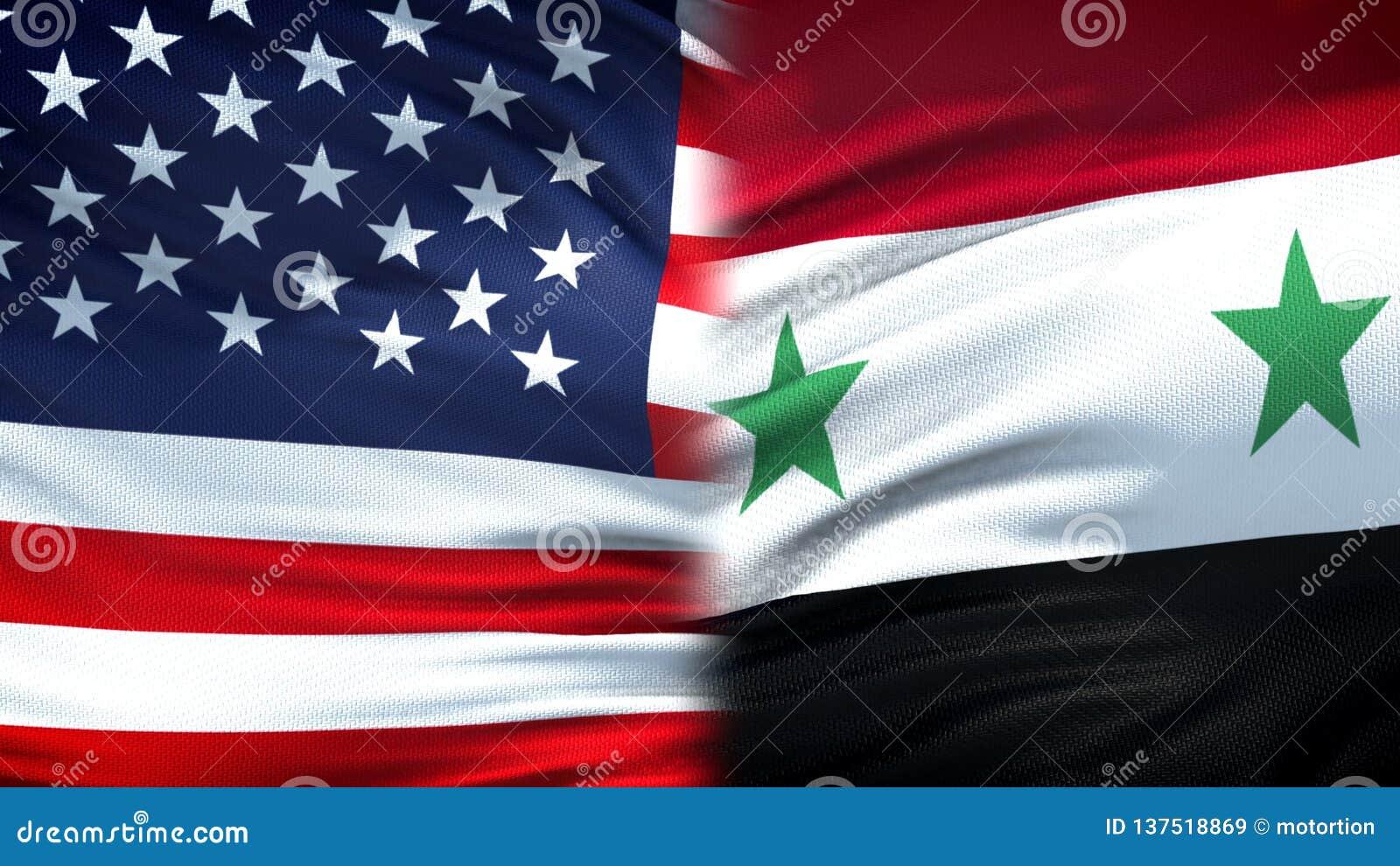 Предпосылка флагов Соединенных Штатов и Сирии, дипломатический и экономические отношения