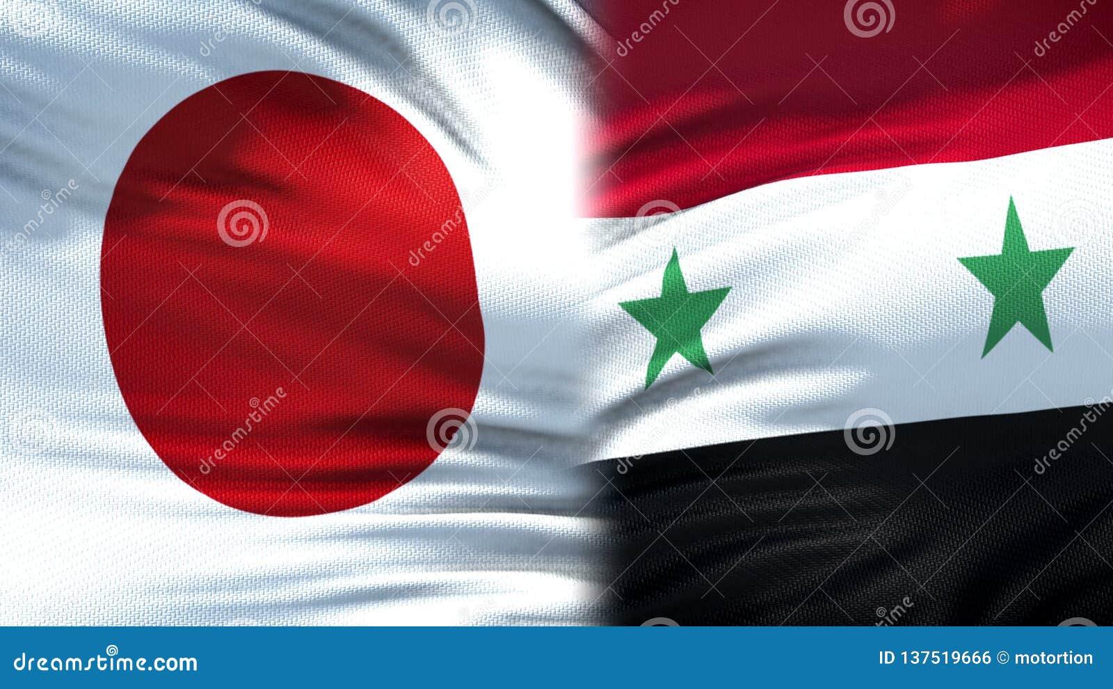 Предпосылка флагов Японии и Сирии, дипломатический и экономические отношения, безопасность