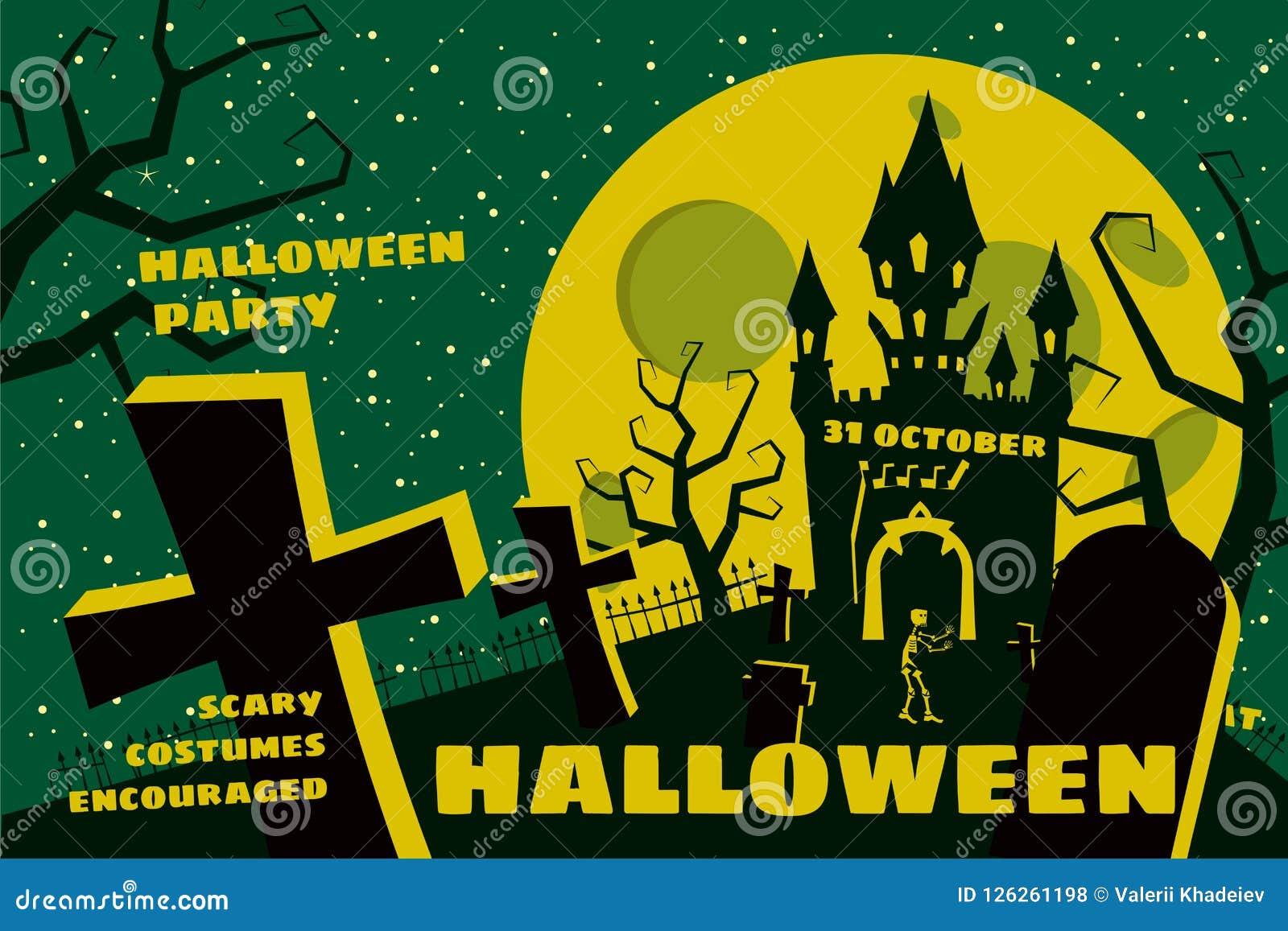 Предпосылка хеллоуина с semetery и sceleton, преследовать замком, домом и полнолунием Плакат, рогулька или приглашение
