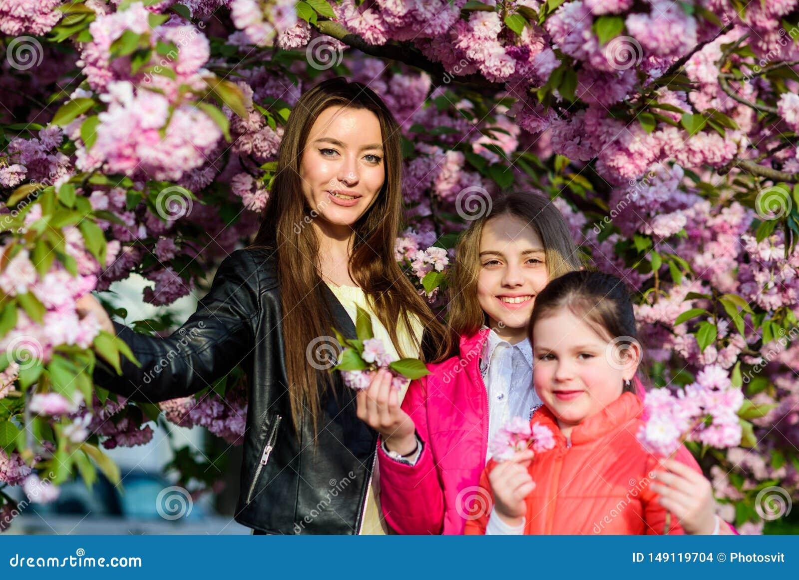 Предпосылка цветка вишни девушек Каникулы весны Семья около дня нежного цветеня солнечного Концепция цветка Сакуры Парк и