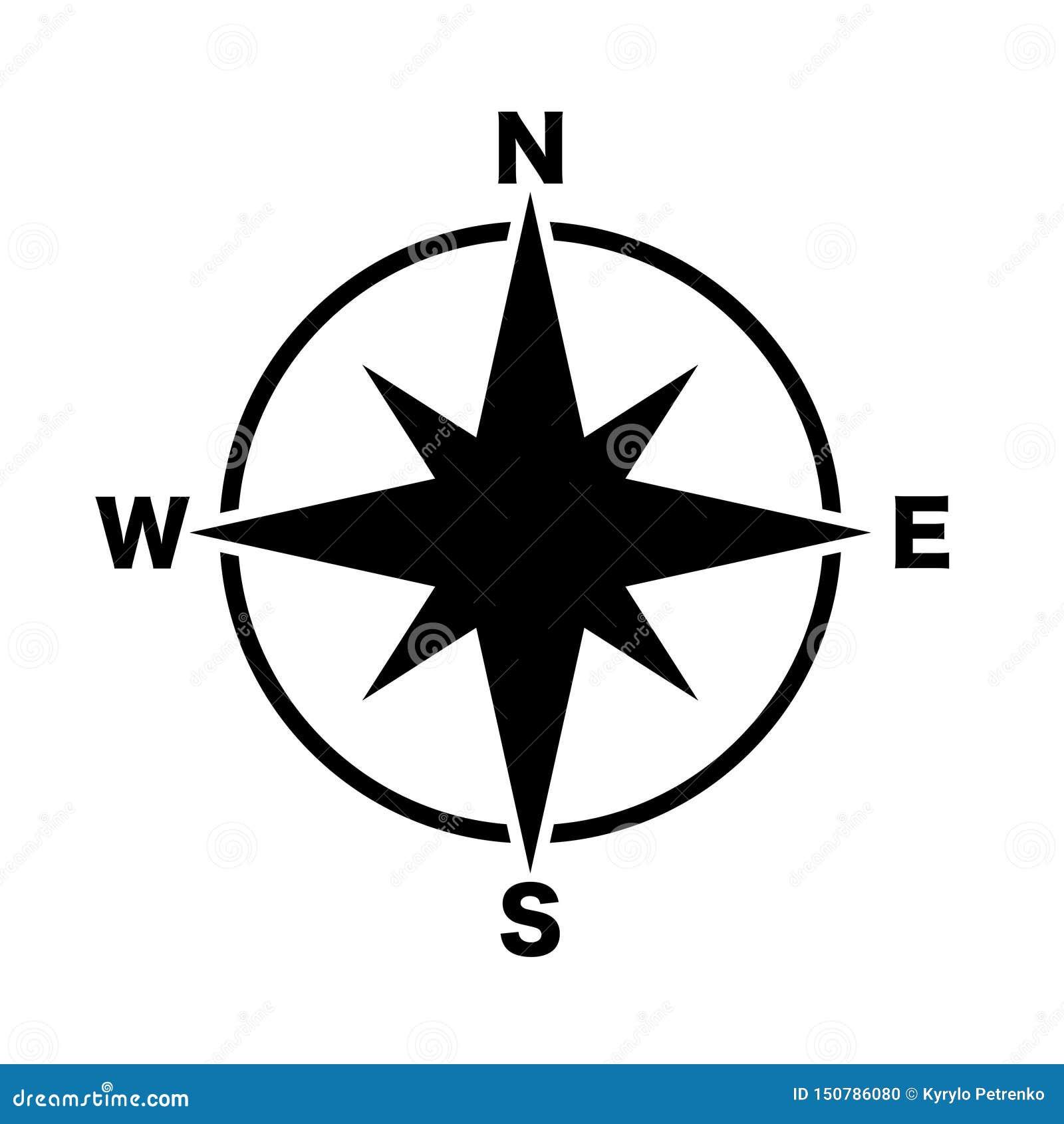 Предпосылка черноты значка магистральных направлений компаса белая