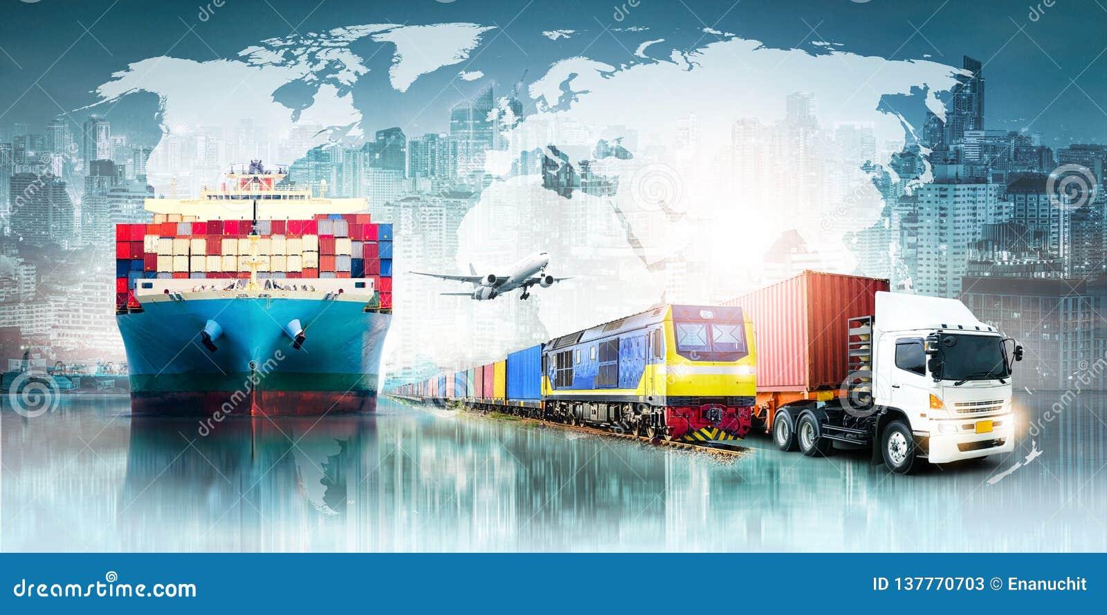 Предпосылка экспорта импорта снабжения глобального бизнеса и корабль перевозки груза контейнера