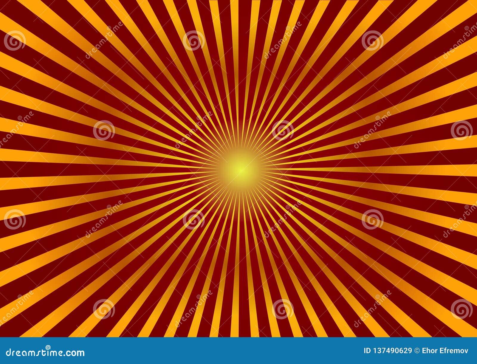 предпосылка яркая Красная предпосылка с золотыми дивергентными лучами