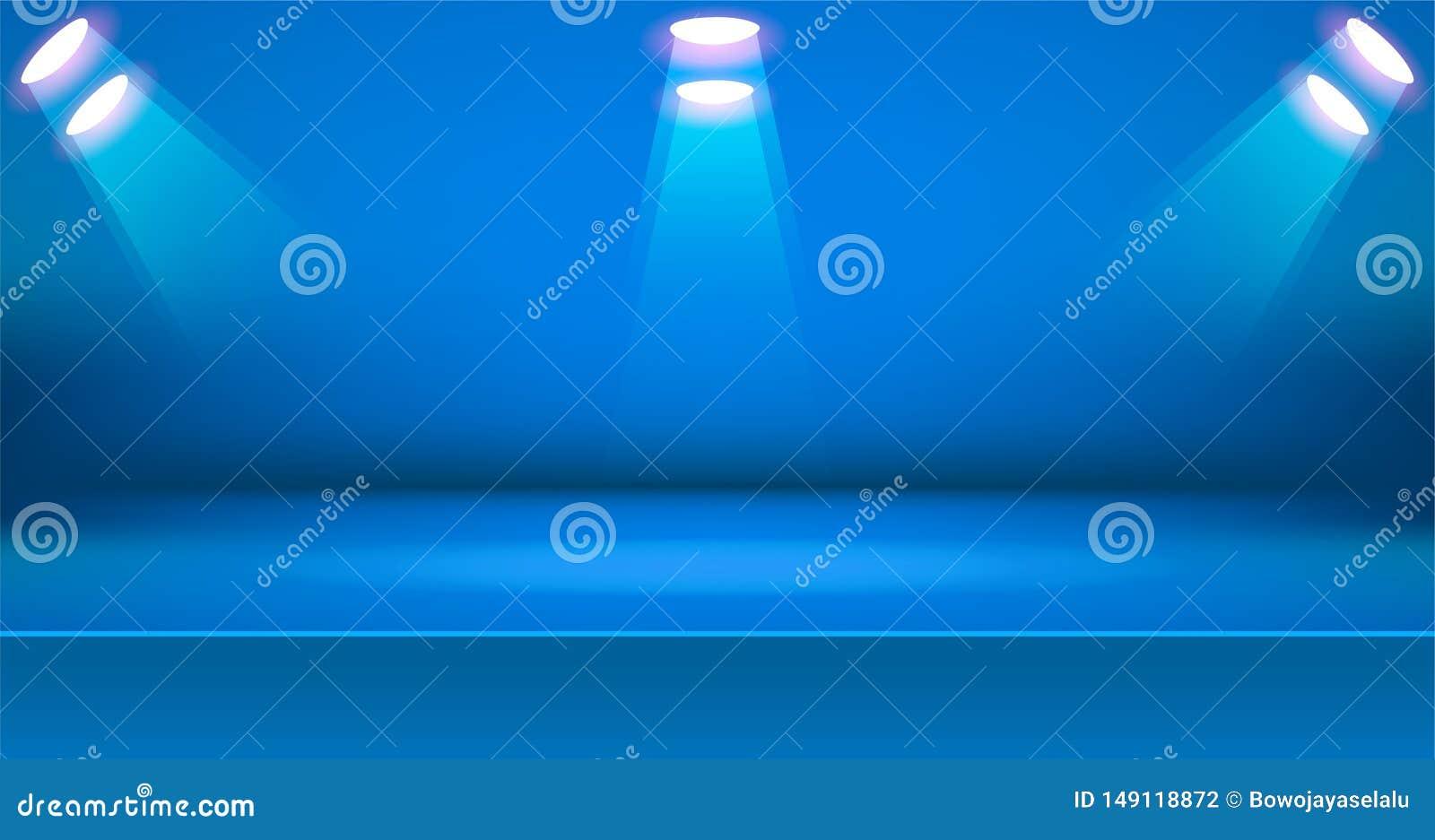 Предпосылка яркой комнаты этапа красочная, пустой дисплей продукта таблицы с космосом