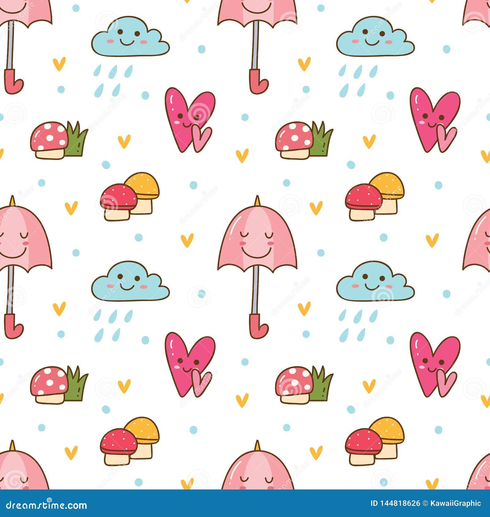 Предпосылка Kawaii безшовная с грибом, зонтиком и дождевым облаком