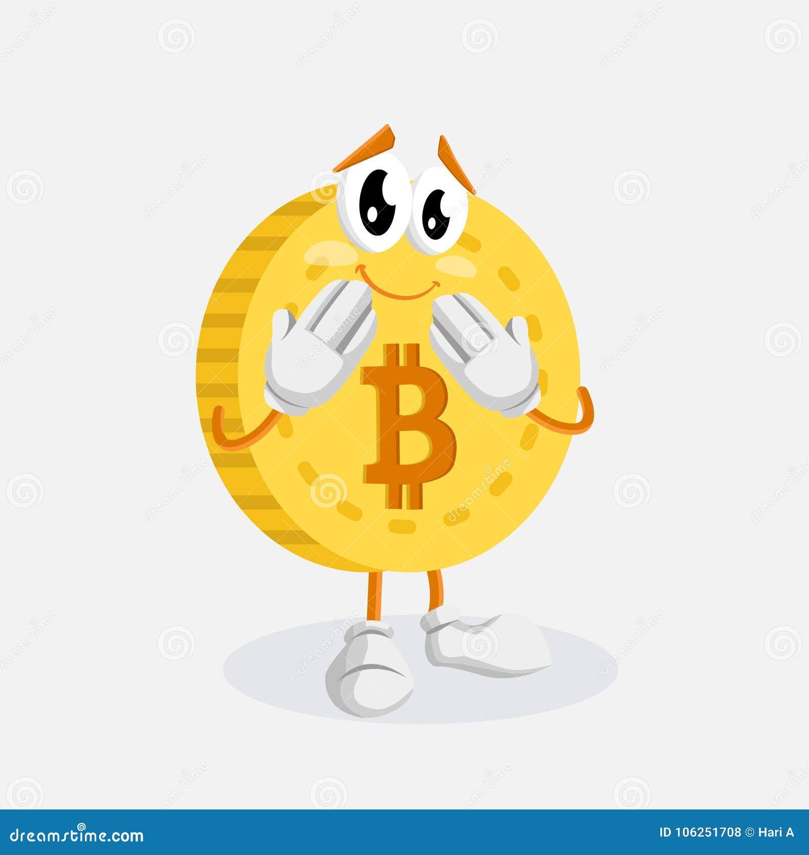 Представление логотипа талисмана Bitcoin пристыженное