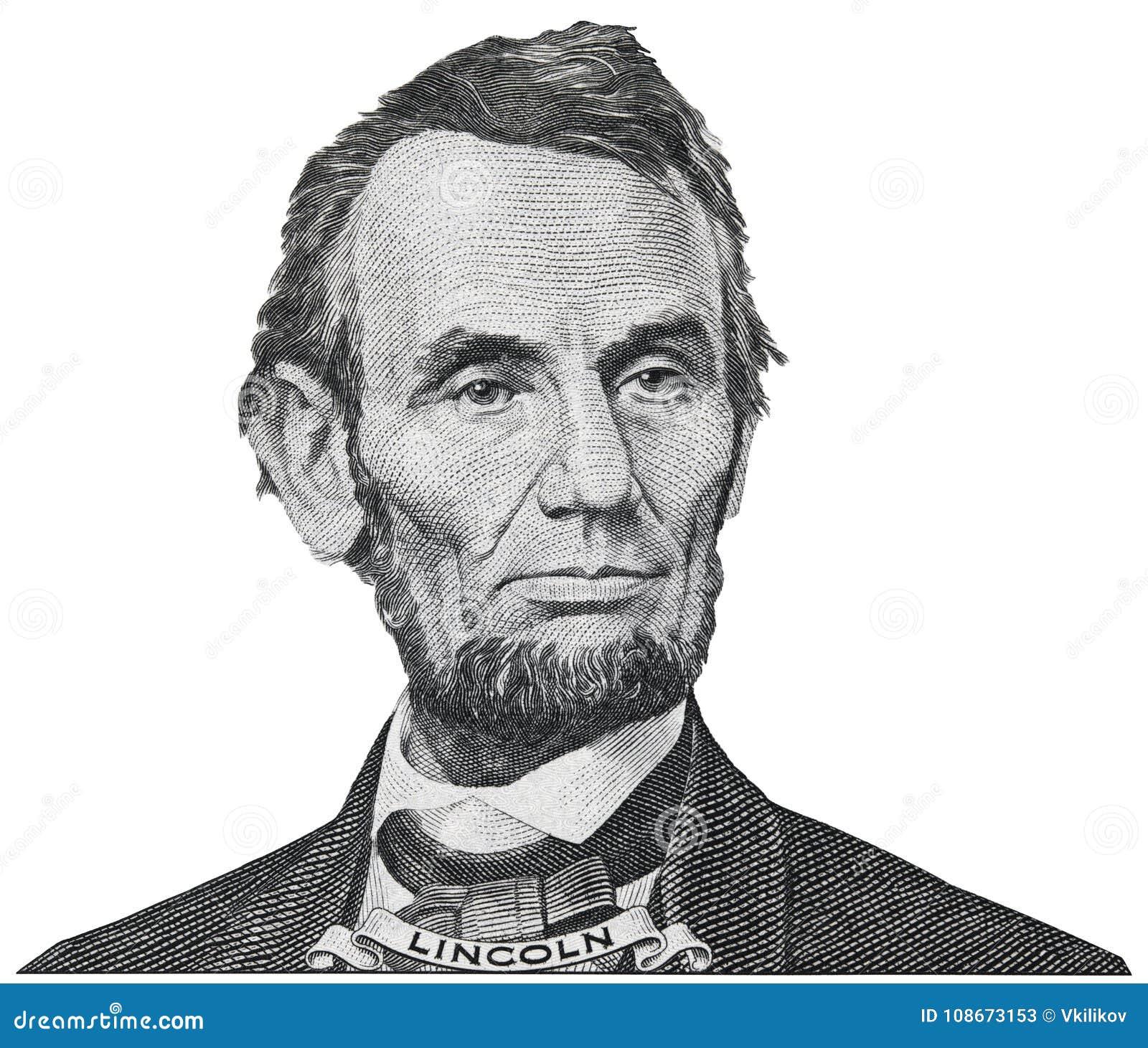 Президент Авраам Abe Линкольн смотрит на портрет на iso 5 долларовых банкнот