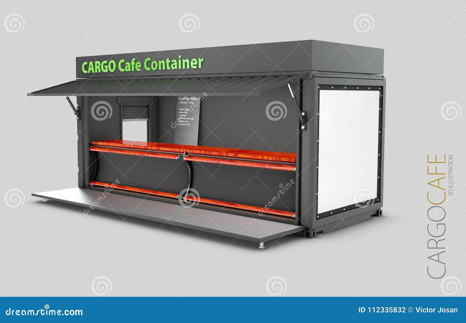 Преобразованный старый контейнер для перевозок в кафе, иллюстрацию 3d изолировал белизну