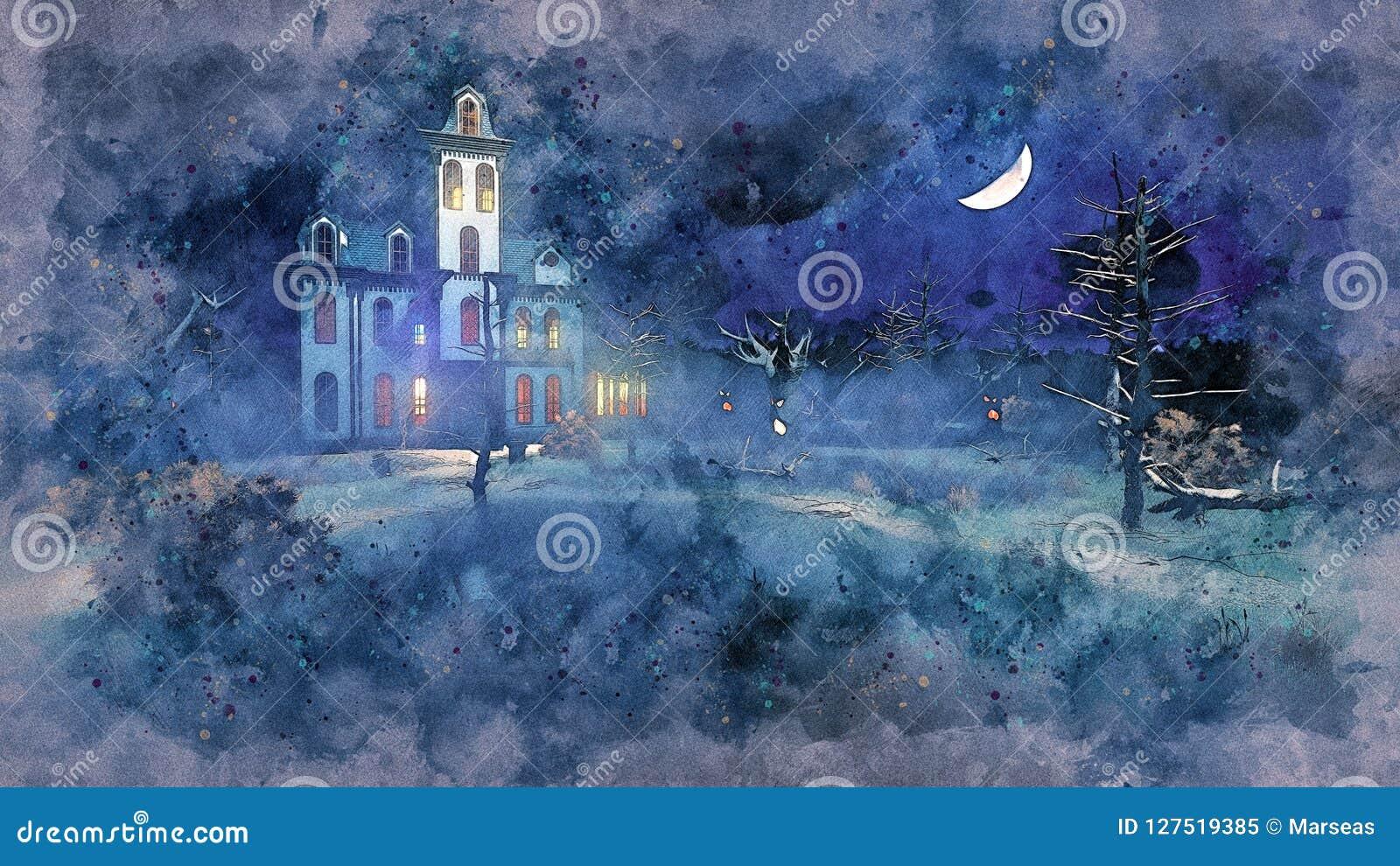 Преследовать особняк на мистическом эскизе акварели ночи