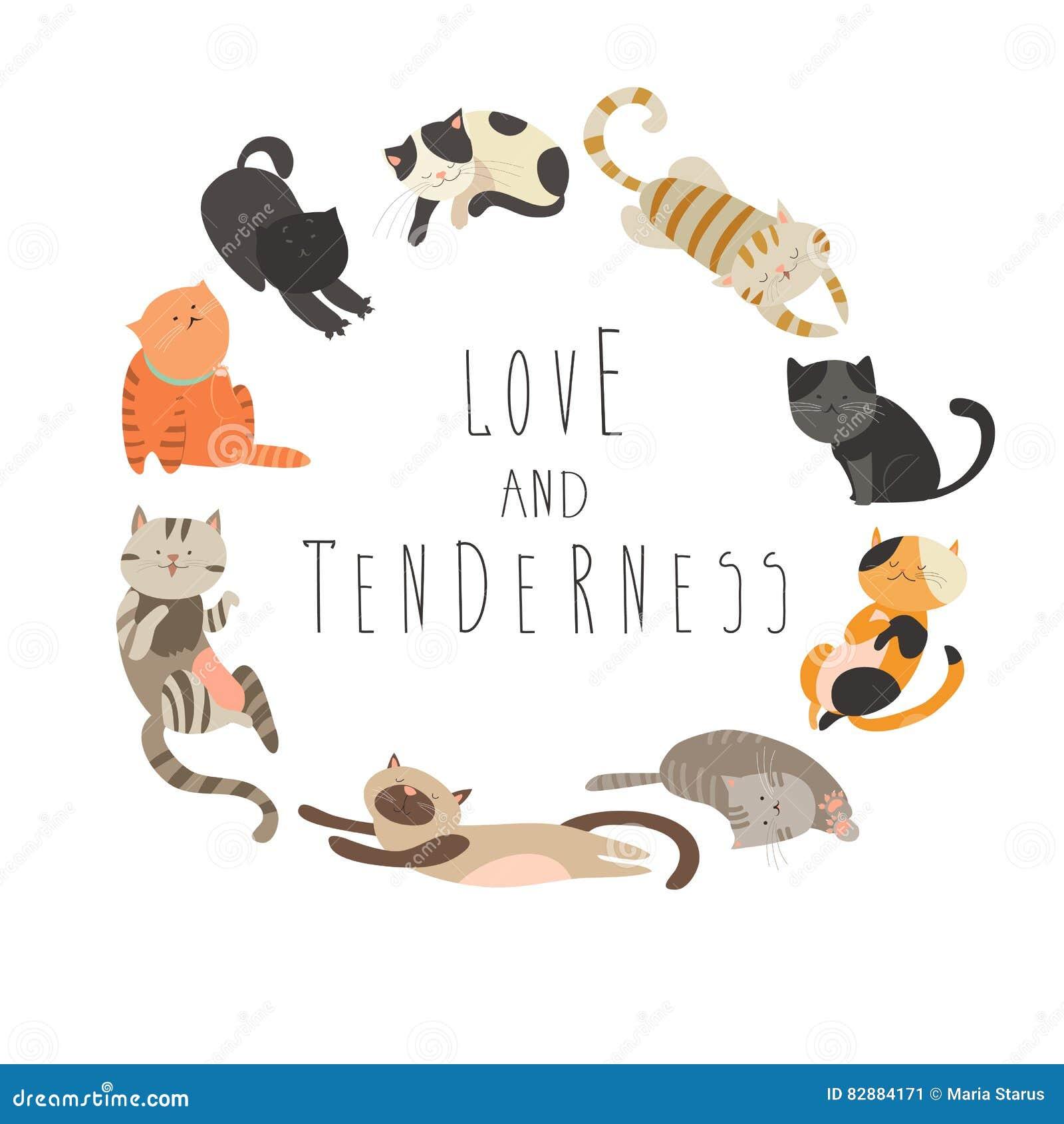 предметы животной семьи характеров котов шаржа смешные изолированные