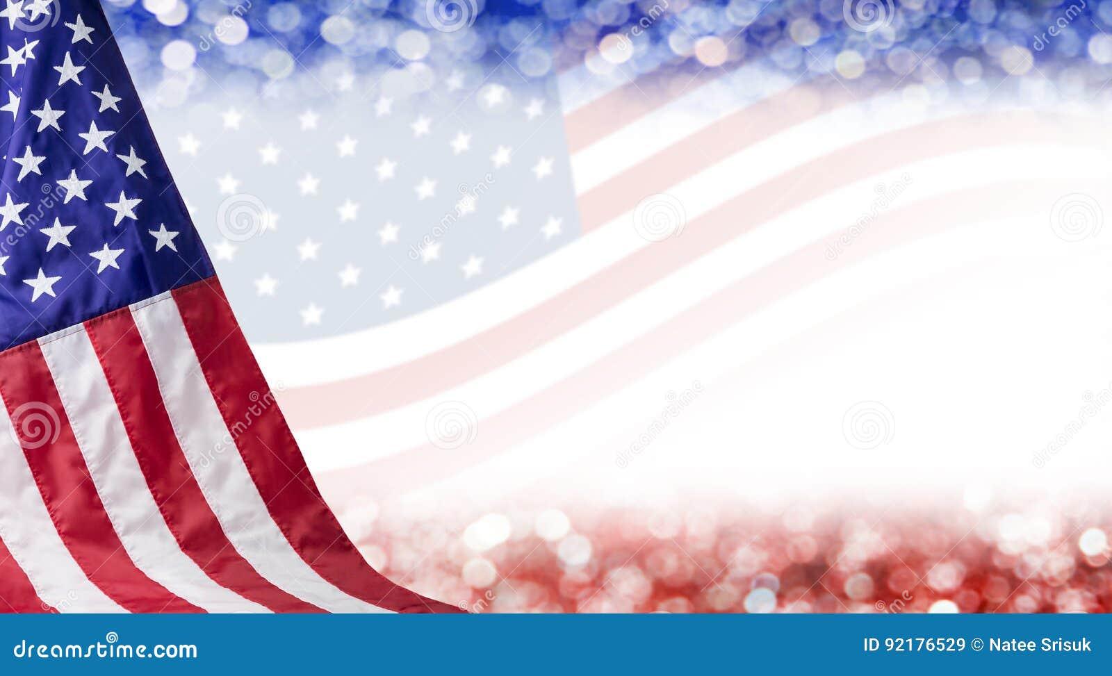 Предпосылка американского флага и bokeh