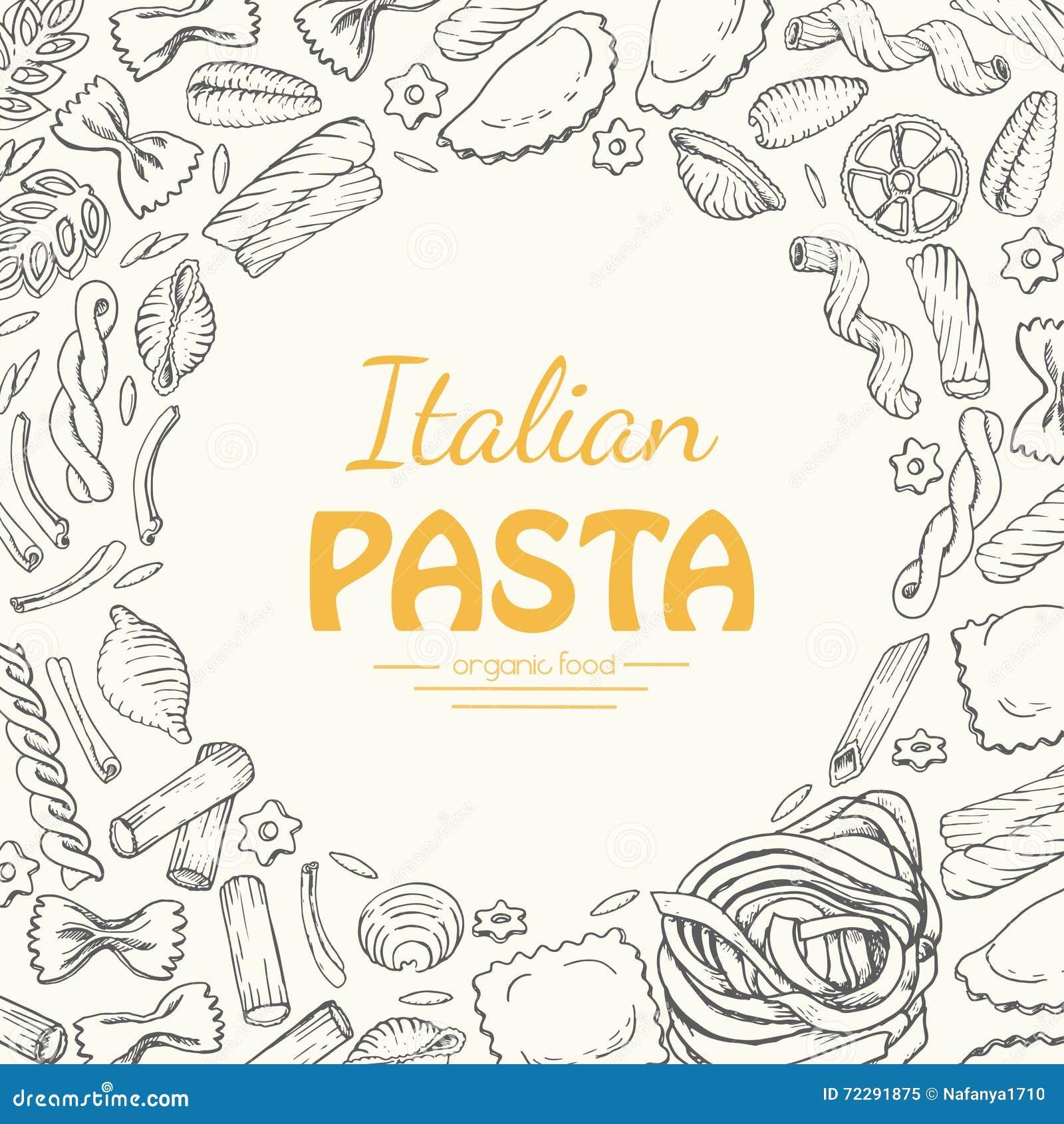 Download Предпосылка вектора с итальянскими макаронными изделиями Иллюстрация вектора - иллюстрации насчитывающей традиция, ингридиент: 72291875