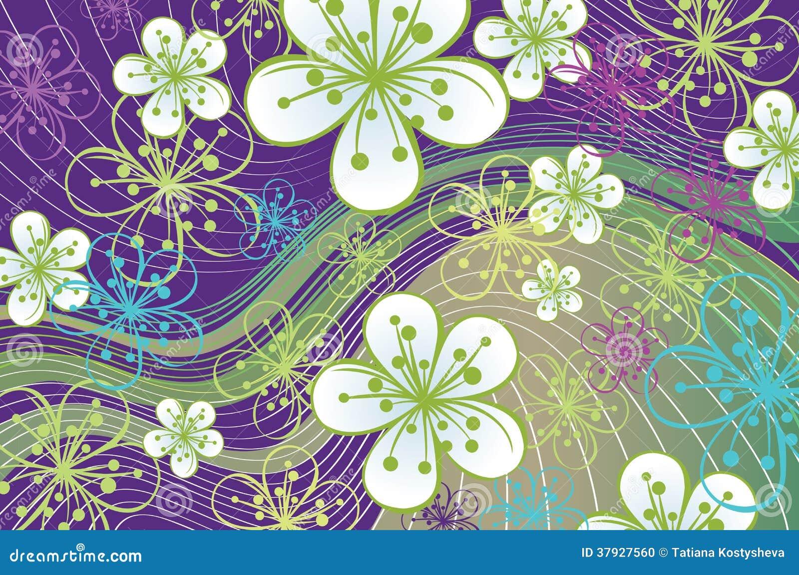 Предпосылка весны. Цветки и линии на abstra
