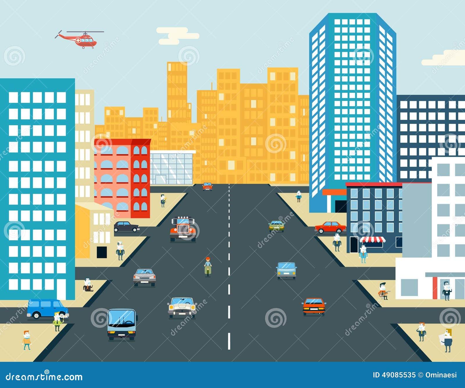 Предпосылка в реальном маштабе времени езды автомобиля жизни людей улицы города