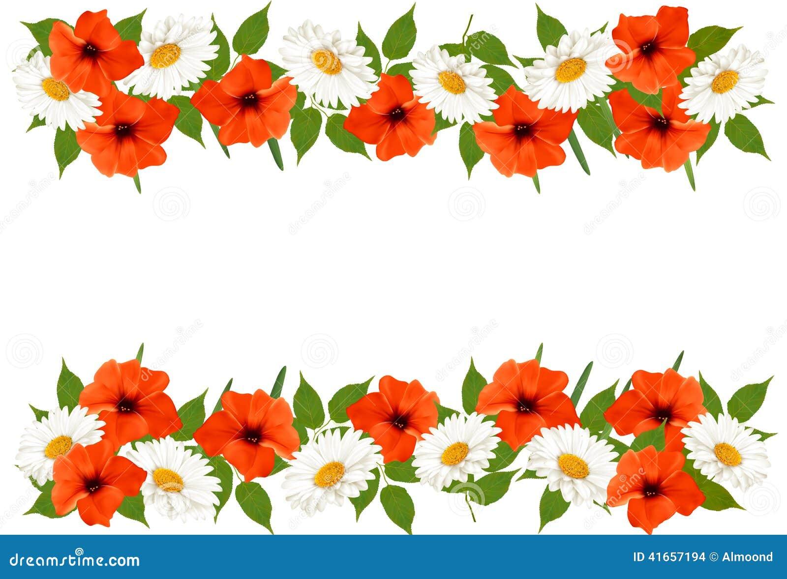 Предпосылка лета с красочными красивыми цветками Вектор Illust