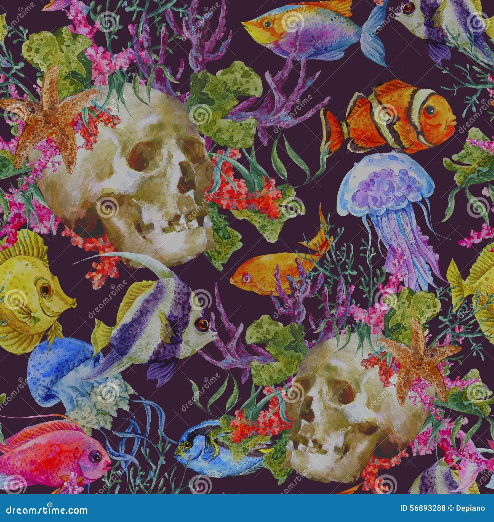 Предпосылка затрапезной морской жизни акварели безшовная