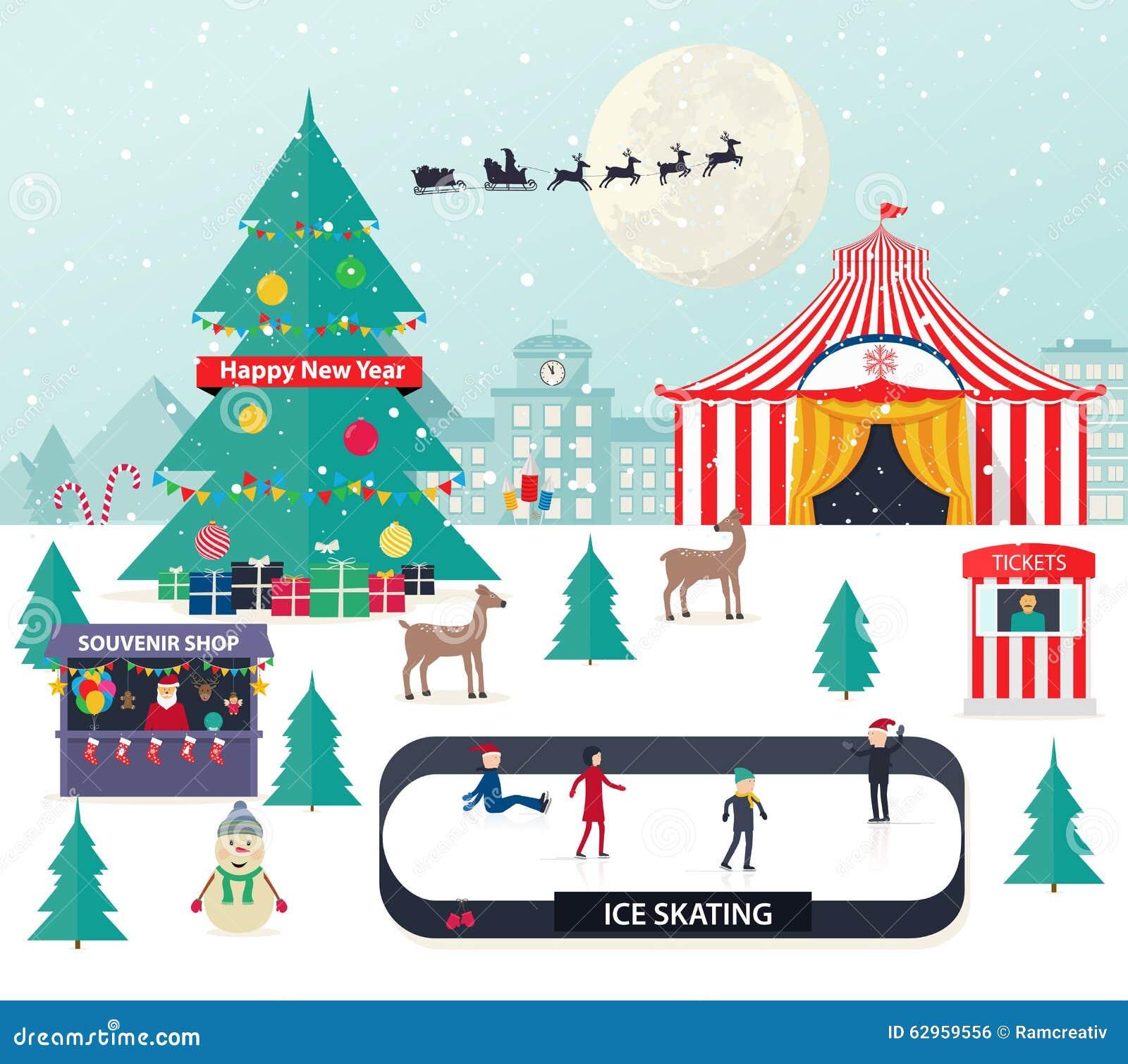 Предпосылка зимы рождества с с деревом Нового Года
