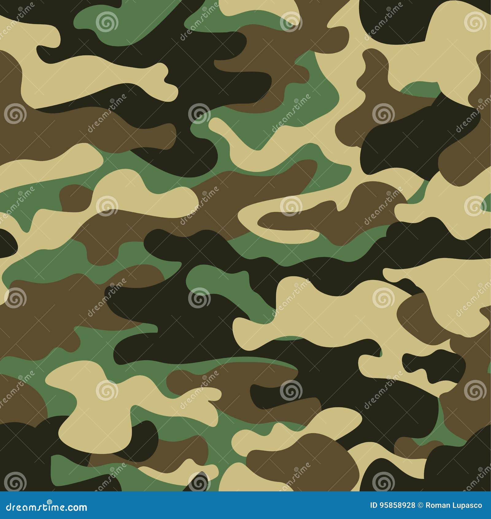 Предпосылка картины камуфлирования безшовная Печать повторения camo классического стиля одежды маскируя Зеленые коричневые цвета