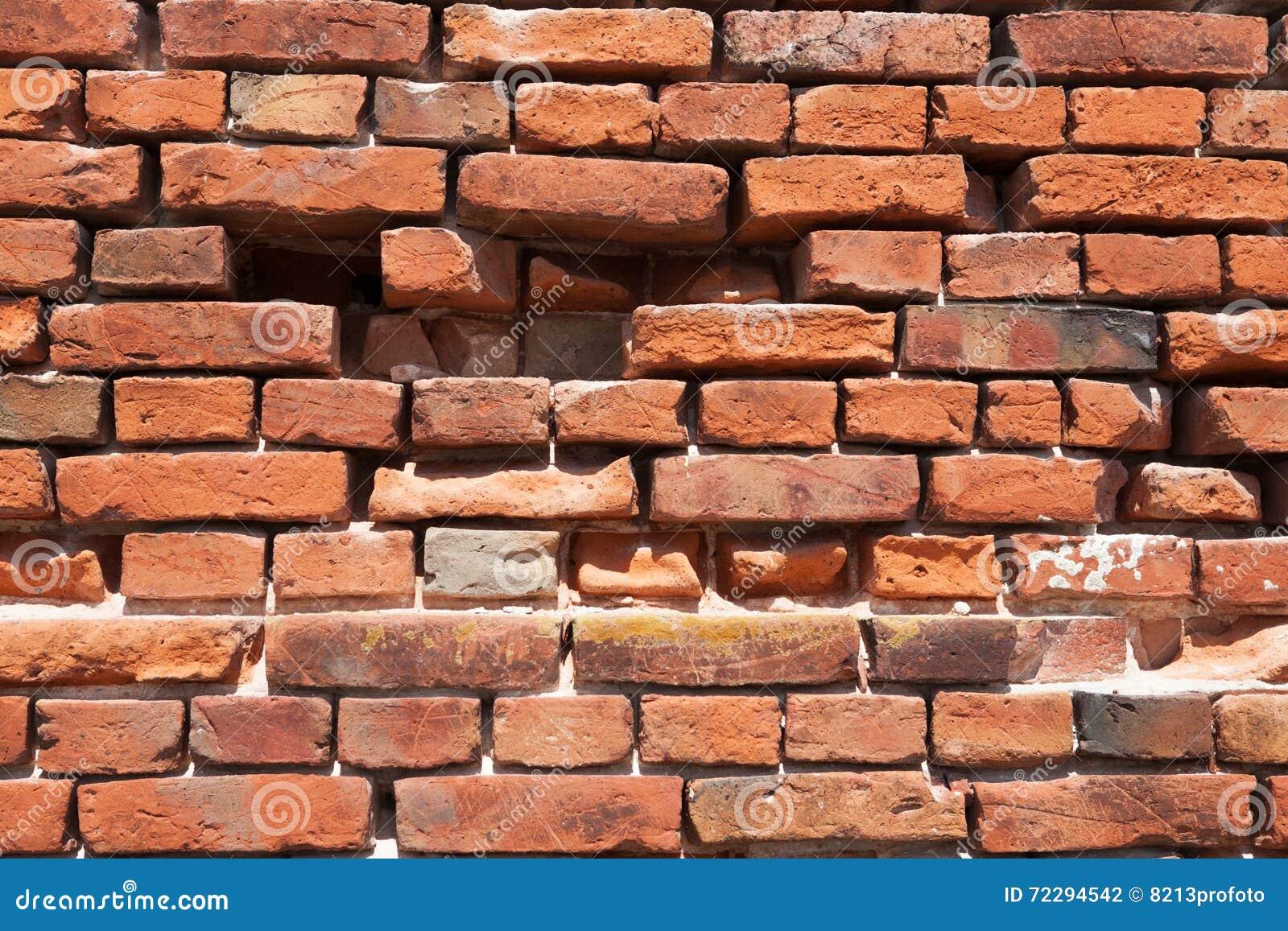 Download Предпосылка кирпичной стены, треснутая кирпичная стена Стоковое Фото - изображение насчитывающей старо, backhoe: 72294542