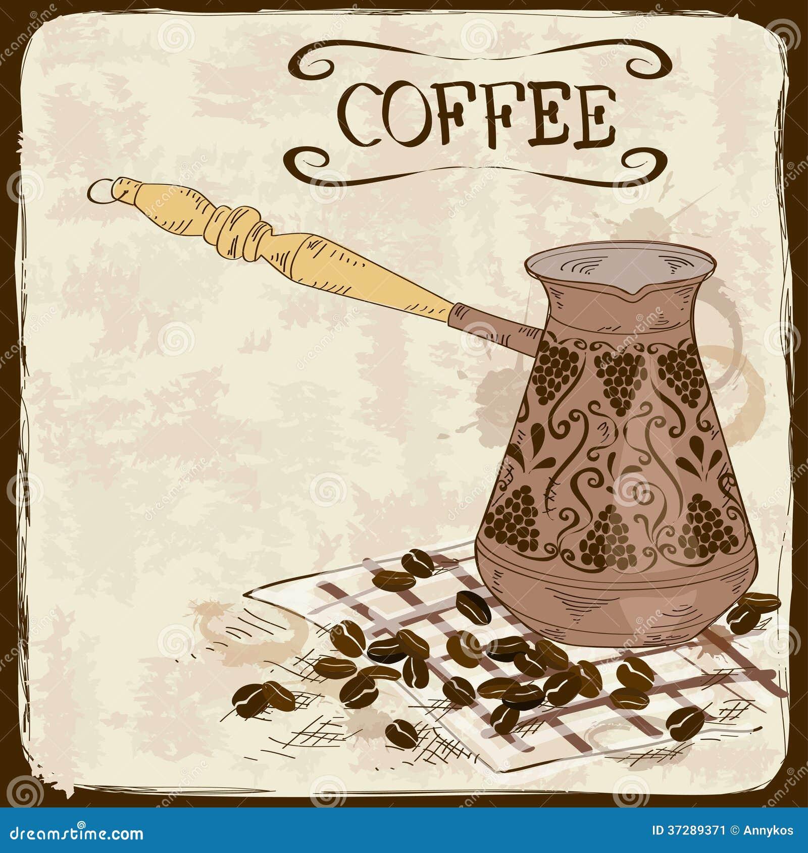 Турка для кофе с рисунками