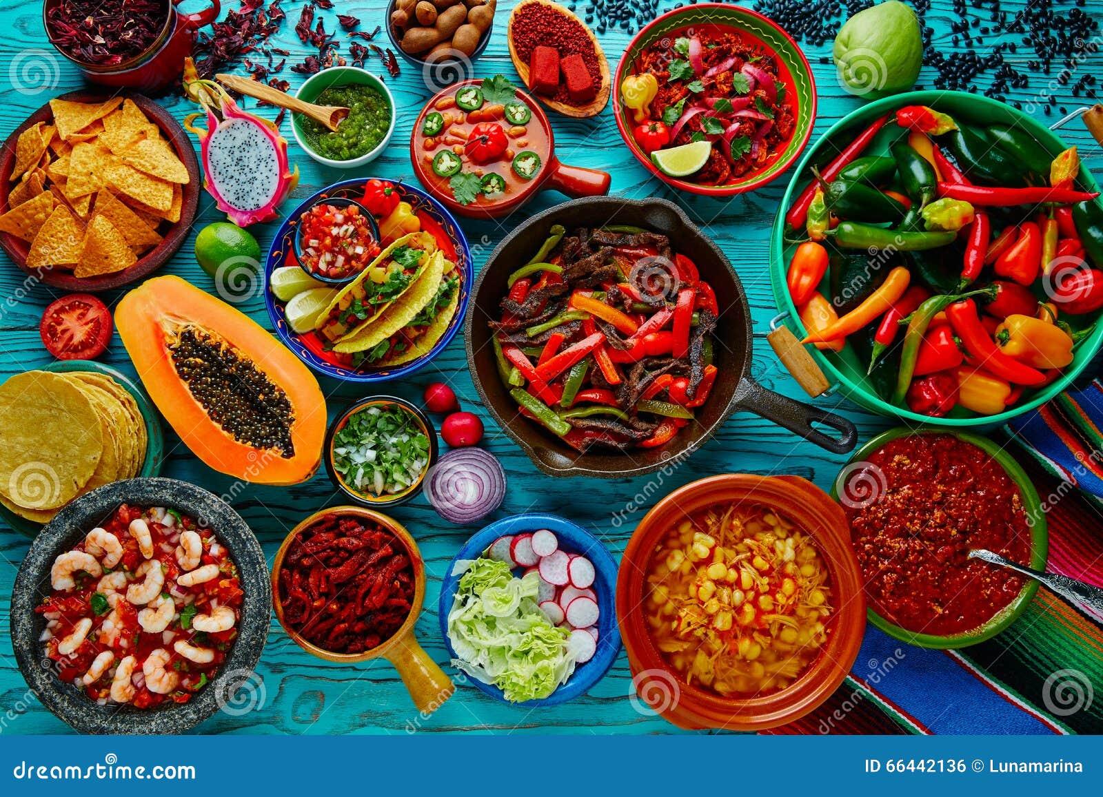 Предпосылка мексиканского смешивания еды красочная