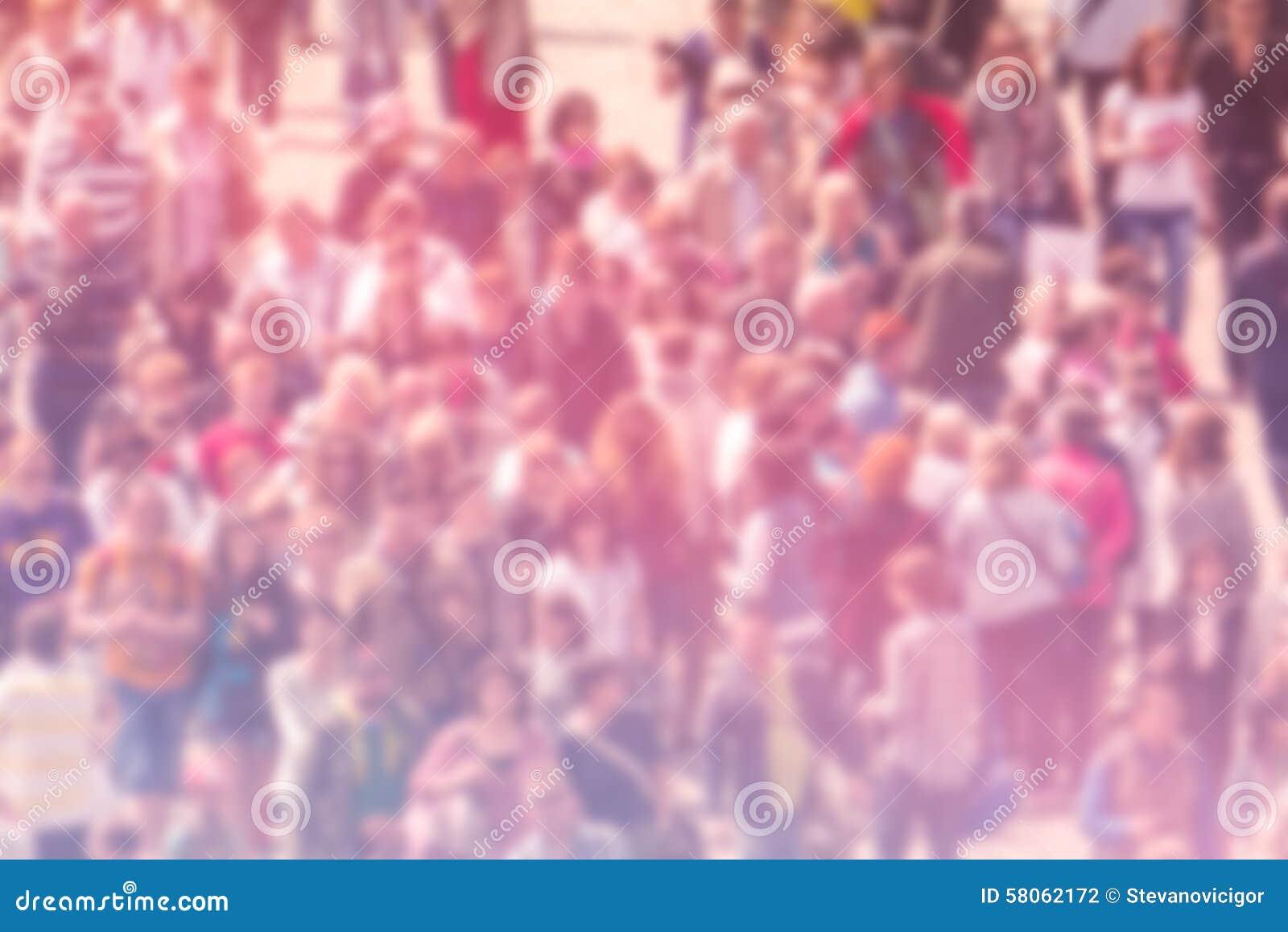 Предпосылка нерезкости общественного мнения широкой публики, вид с воздуха толпы