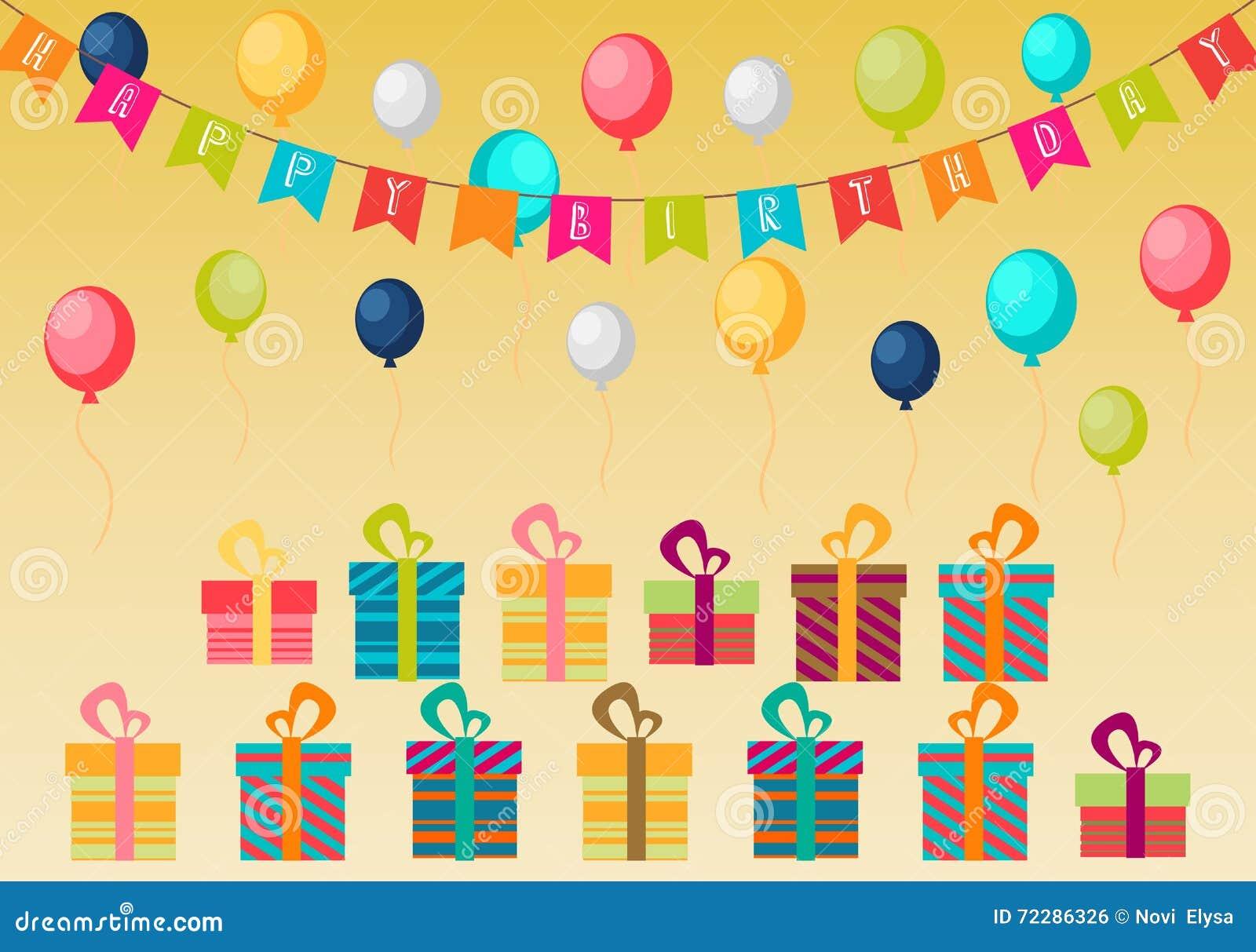 Download Предпосылка дня рождения партии с воздушными шарами и подарочными коробками цвета на коричневой предпосылке Иллюстрация вектора - иллюстрации насчитывающей случай, элемент: 72286326