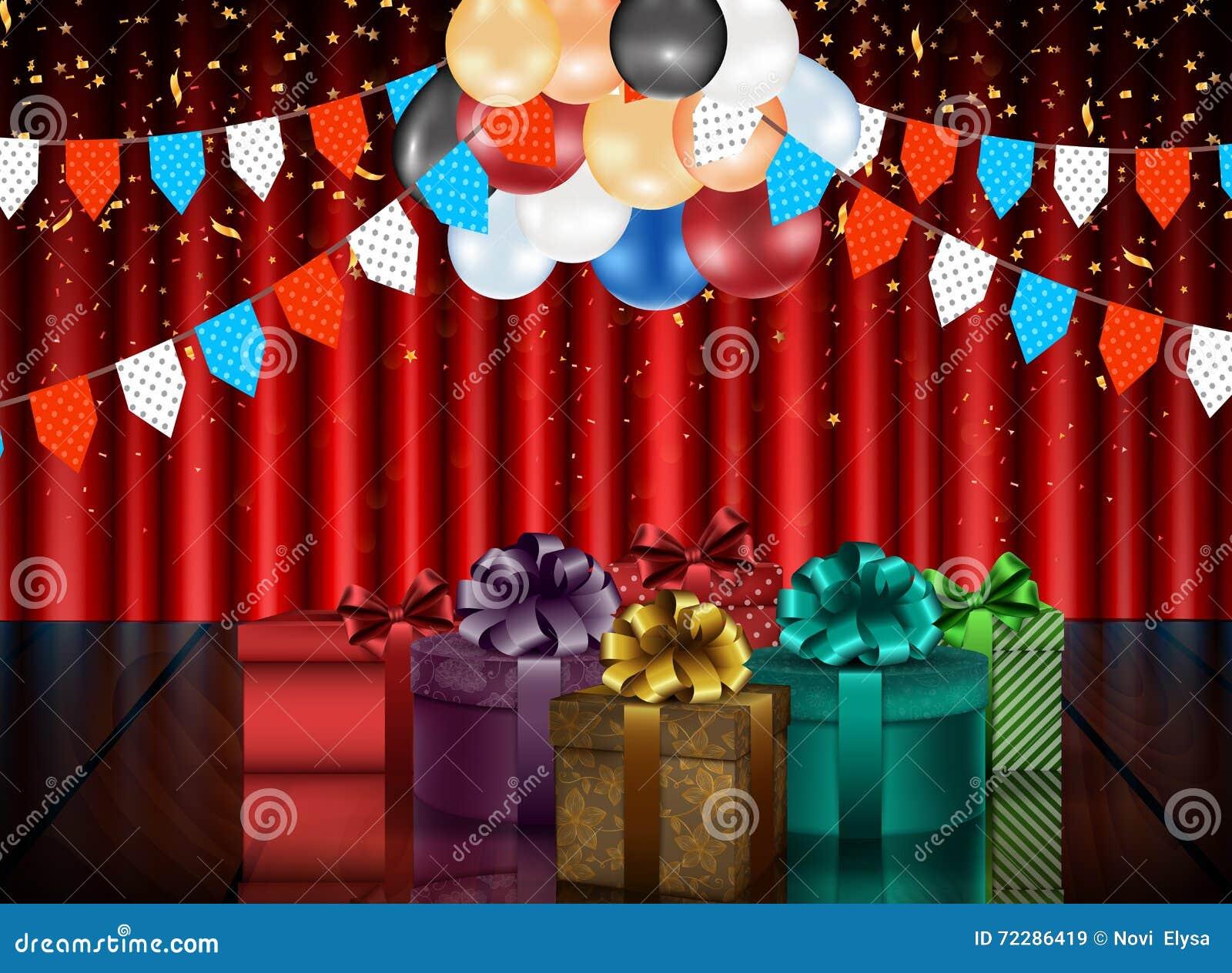 Download Предпосылка дня рождения партии с воздушными шарами и подарочными коробками цвета на предпосылке занавеса Иллюстрация вектора - иллюстрации насчитывающей цветасто, предмет: 72286419