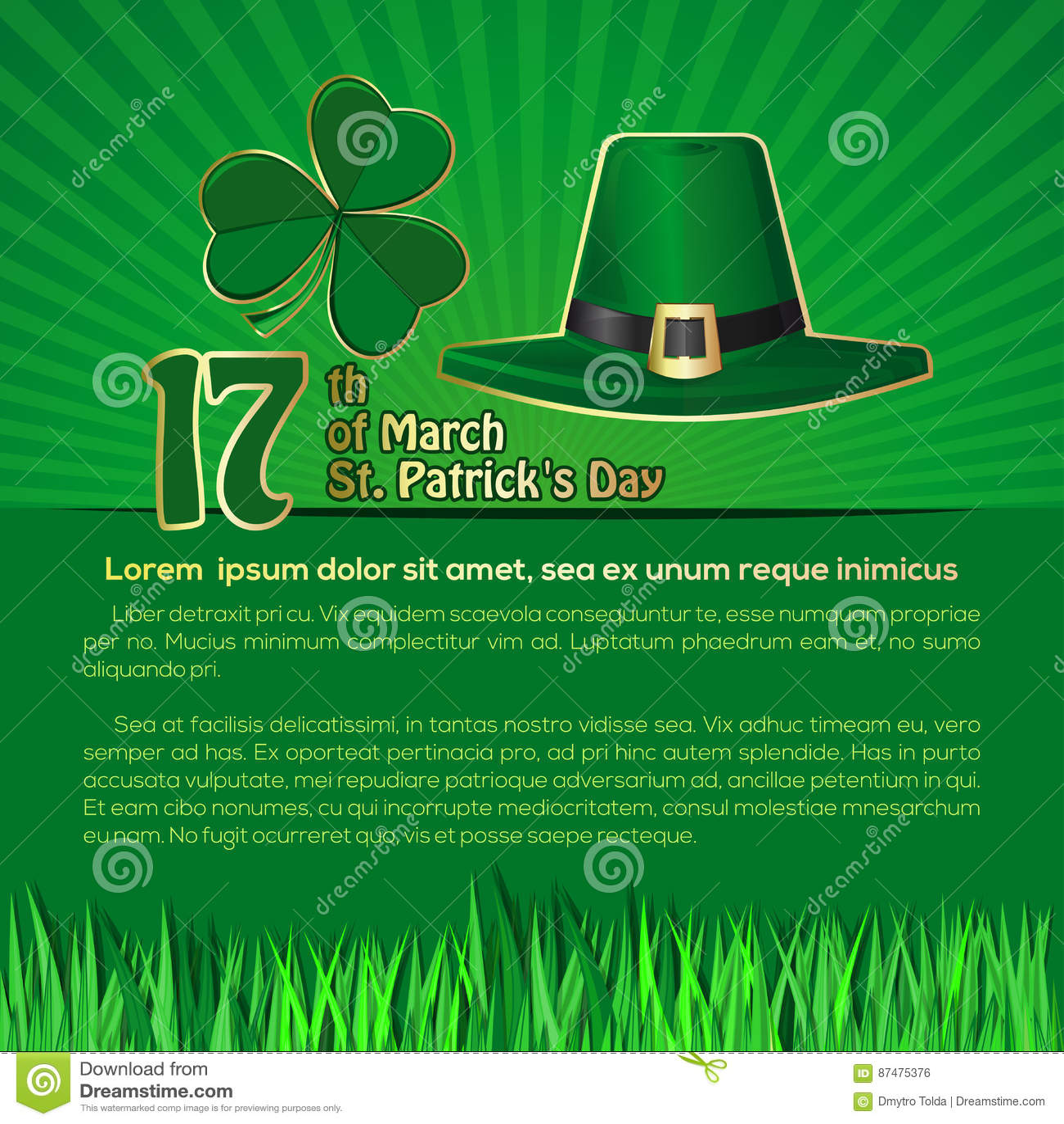 Предпосылка дня St Patricks с космосом для текста 17-ое марта