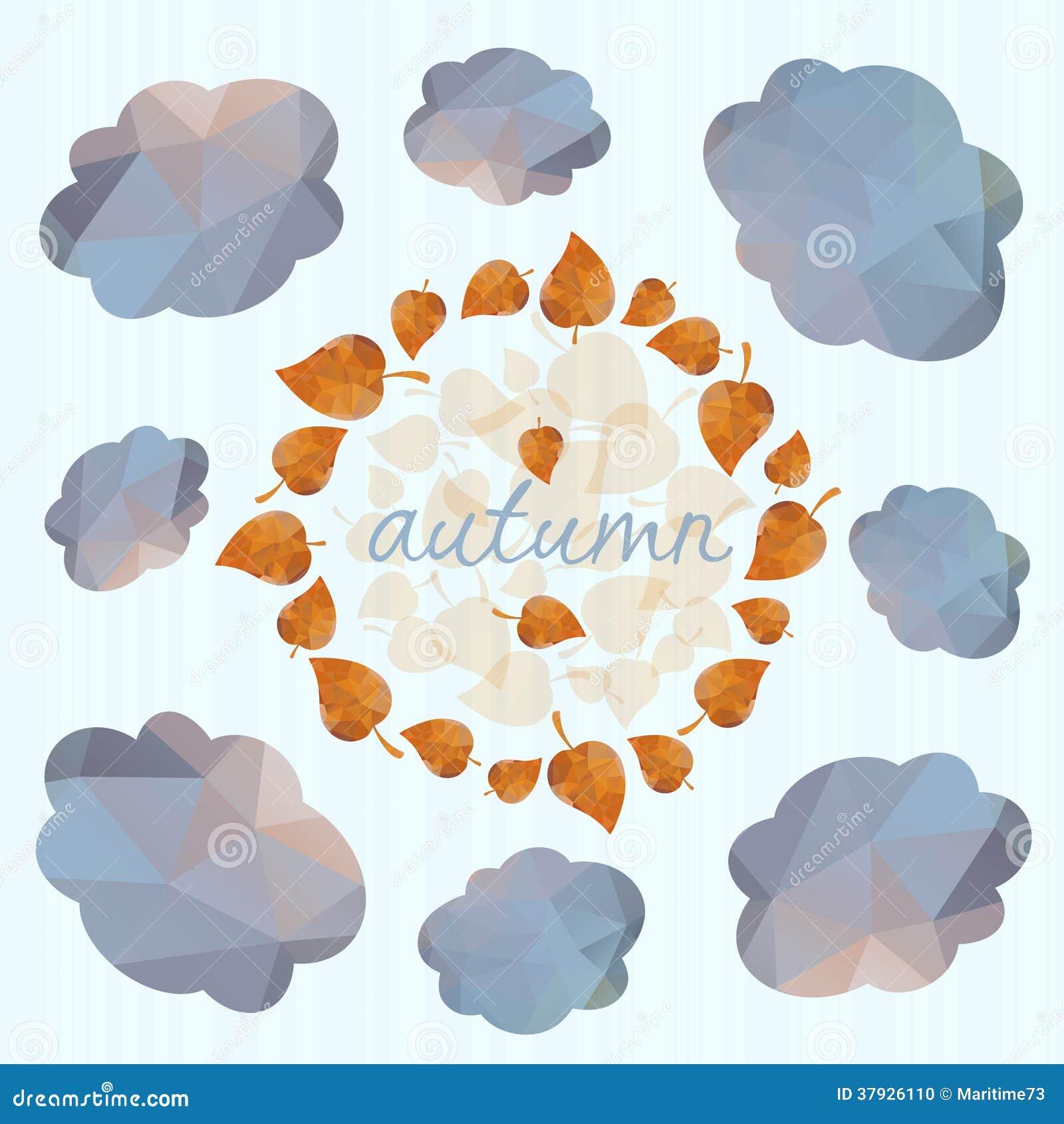 Предпосылка осени с листьями и облаками.