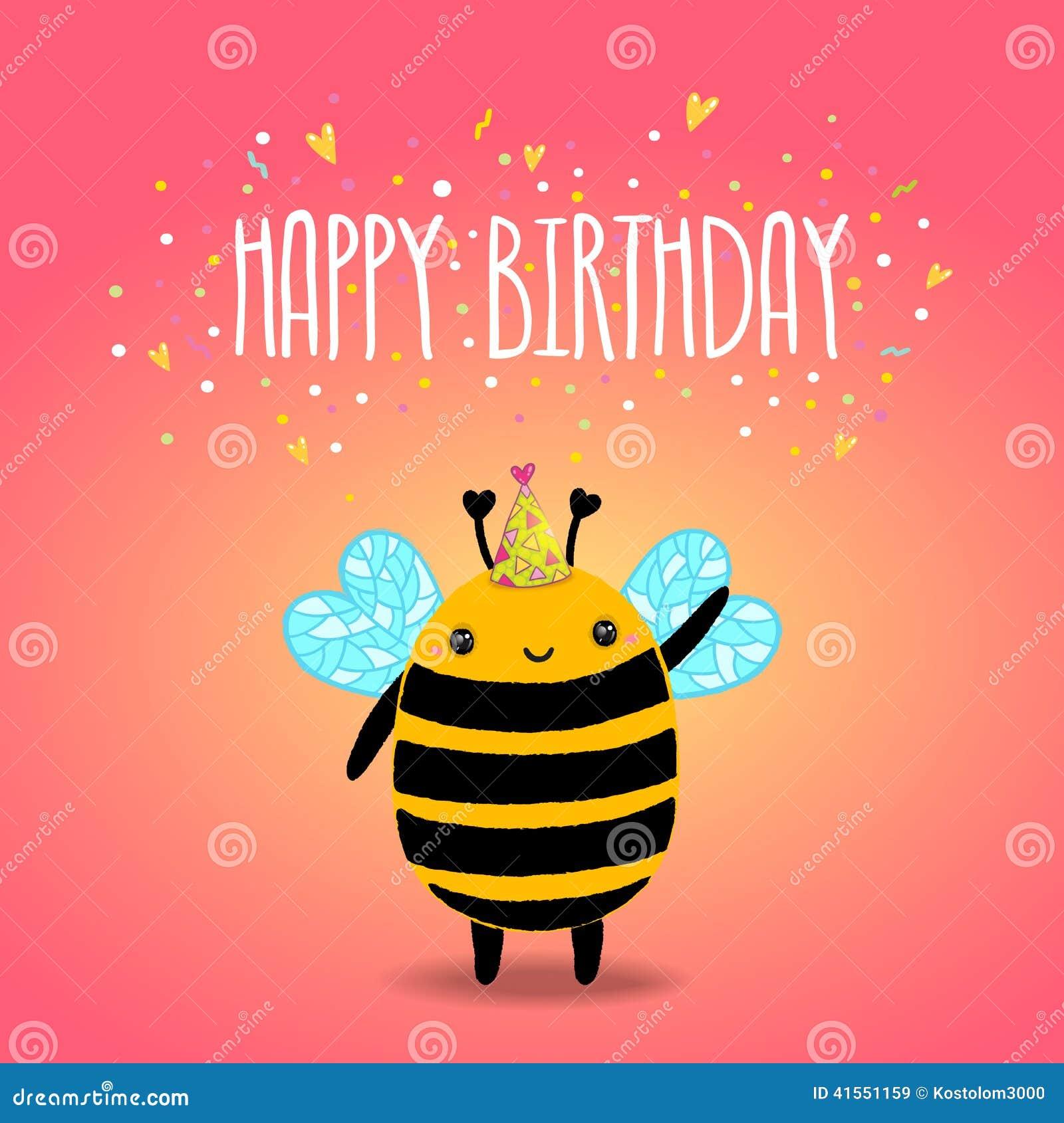 С днем рождения открытка с пчелками, надписями прикольные
