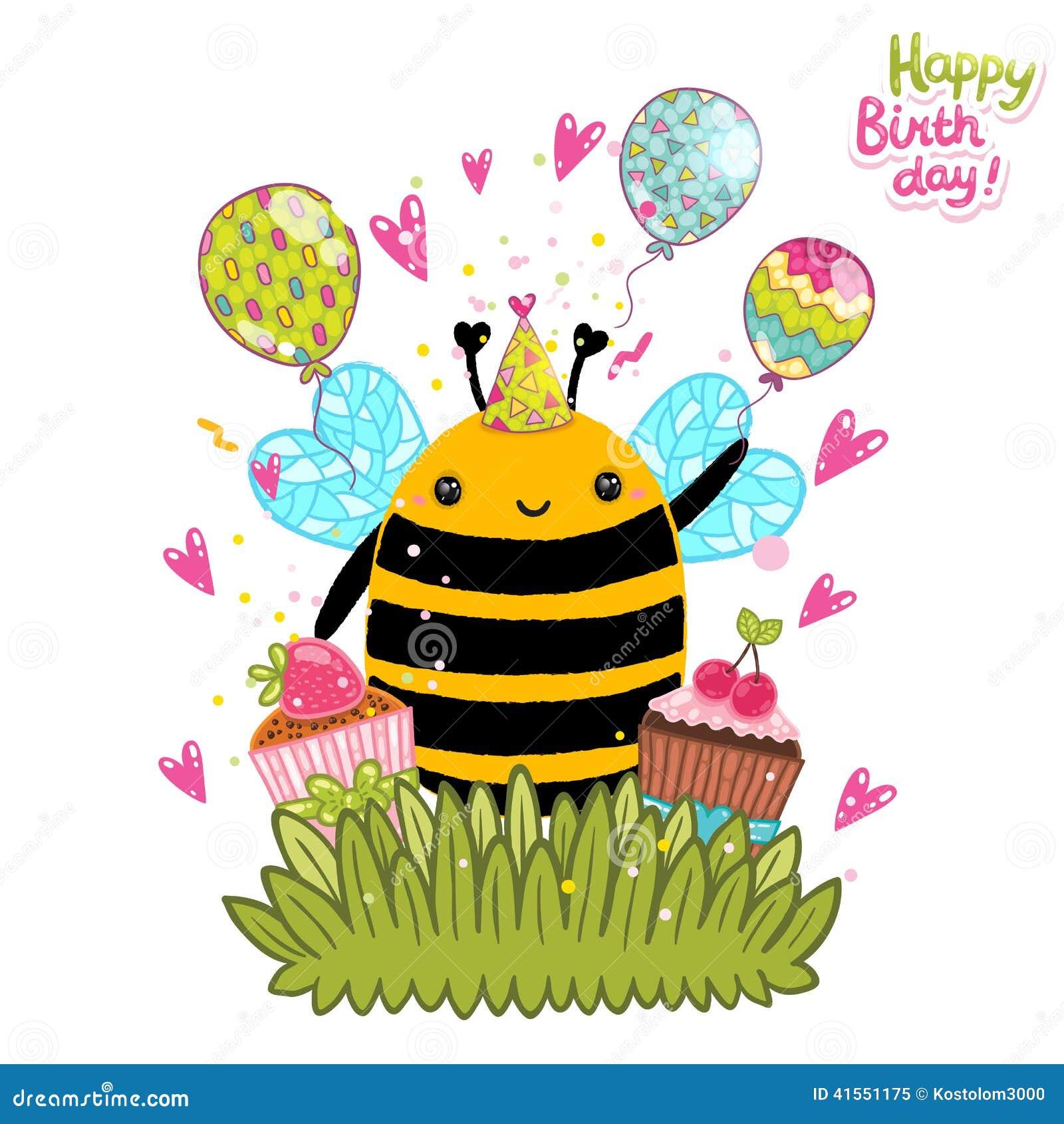 Открытка с пчелкой день рождения