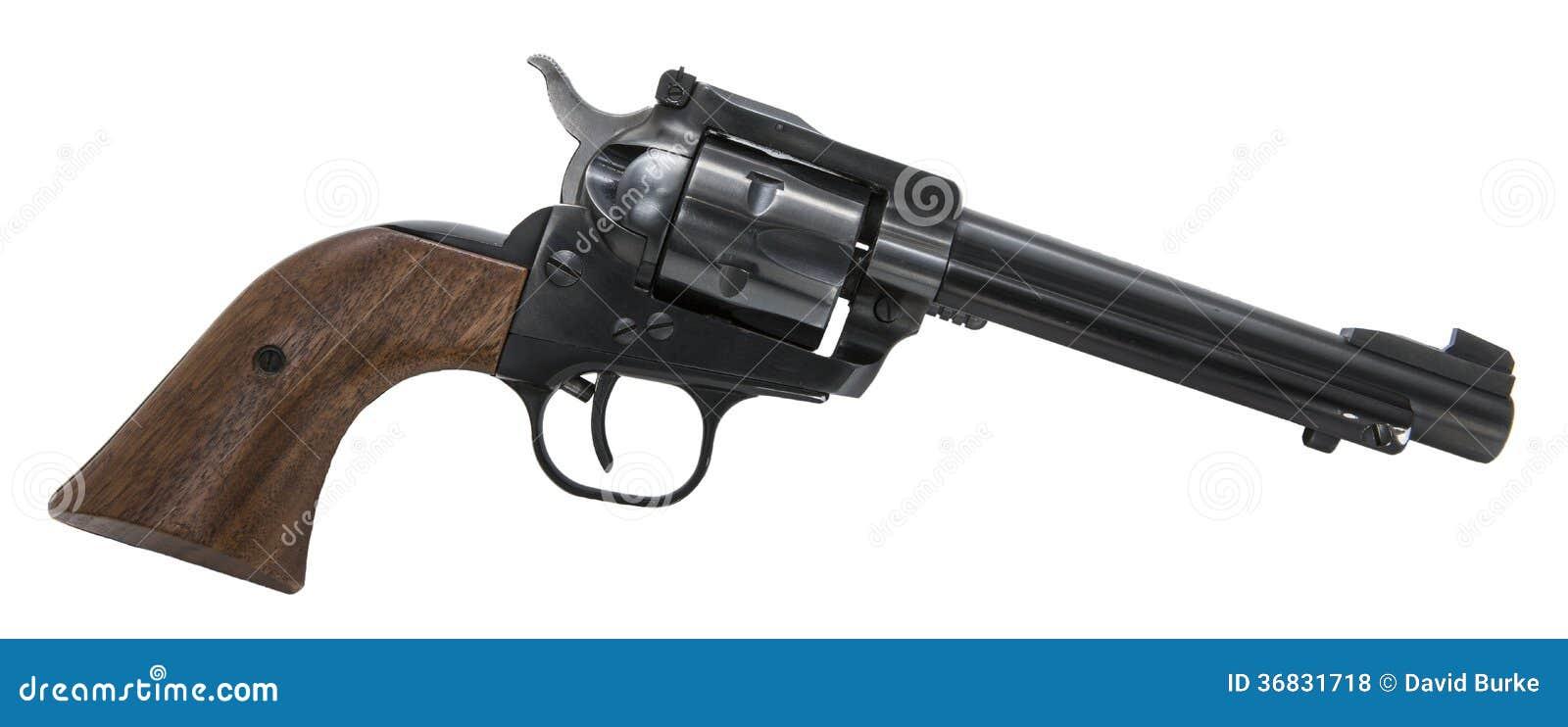 Предпосылка револьвера изолированная огнестрельным оружием белая