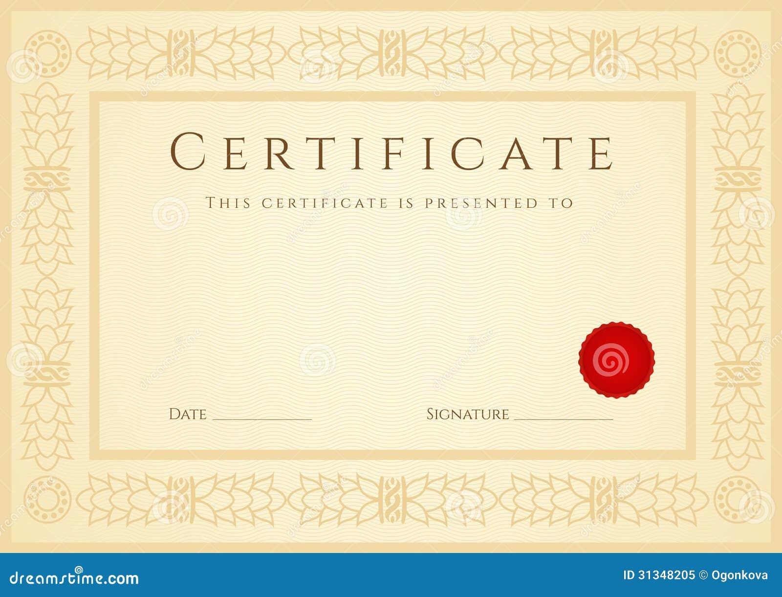 Предпосылка сертификата диплома шаблон Рамка Иллюстрация  Предпосылка сертификата диплома шаблон Рамка