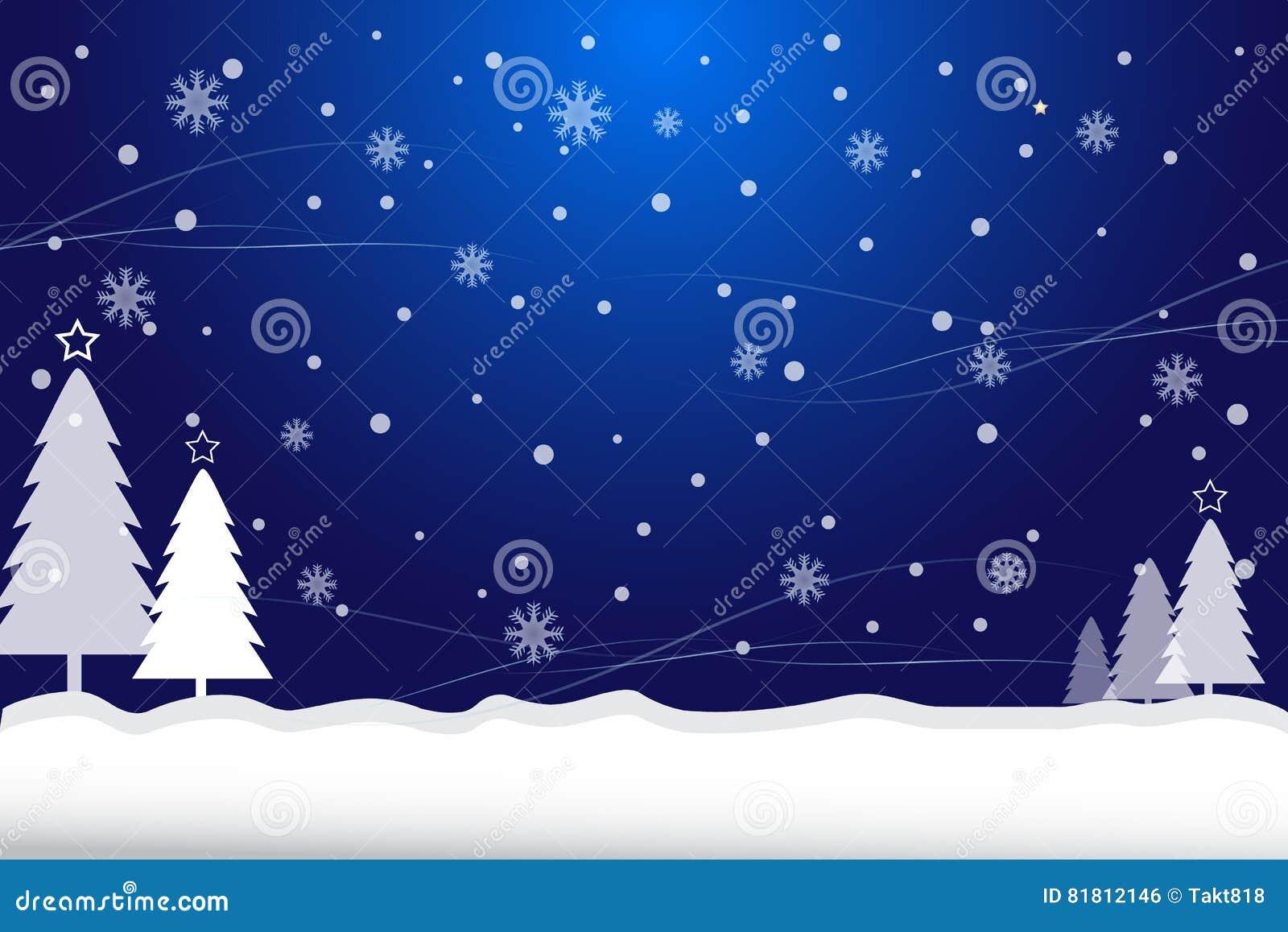 Предпосылка сини рождества снега и сосны